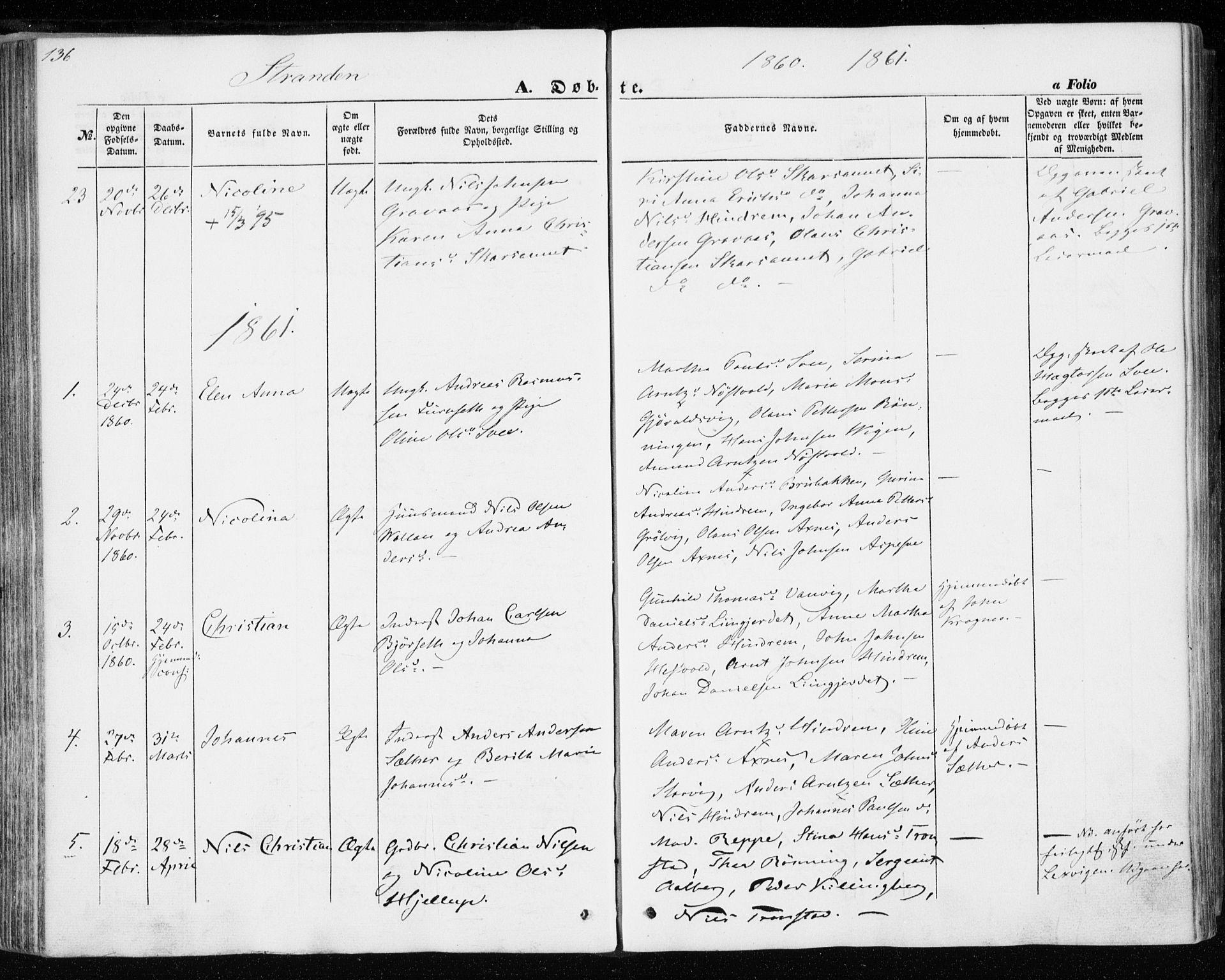 SAT, Ministerialprotokoller, klokkerbøker og fødselsregistre - Nord-Trøndelag, 701/L0008: Parish register (official) no. 701A08 /2, 1854-1863, p. 136