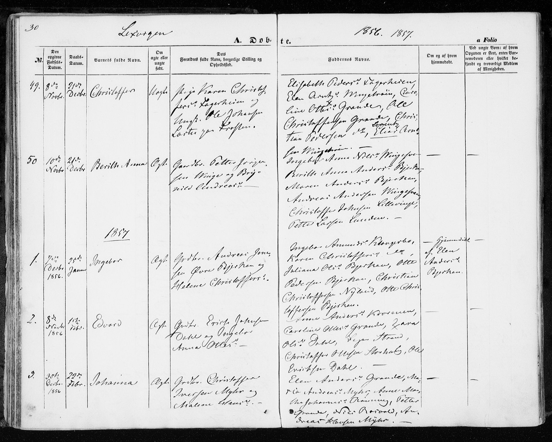SAT, Ministerialprotokoller, klokkerbøker og fødselsregistre - Nord-Trøndelag, 701/L0008: Parish register (official) no. 701A08 /1, 1854-1863, p. 30