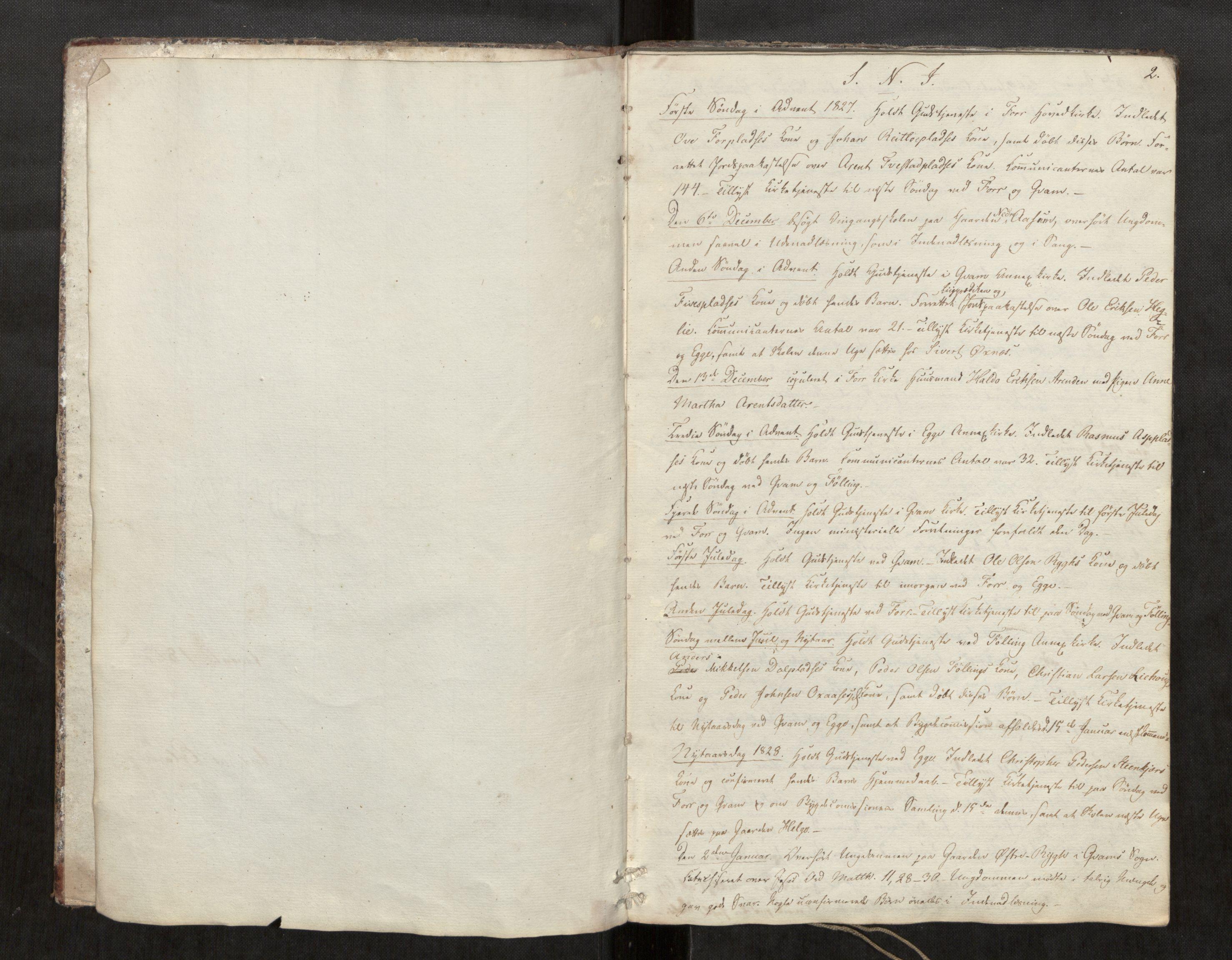 SAT, Stod sokneprestkontor, I/I1/I1d/L0001: Curate's parish register no. 1, 1827-1849, p. 2