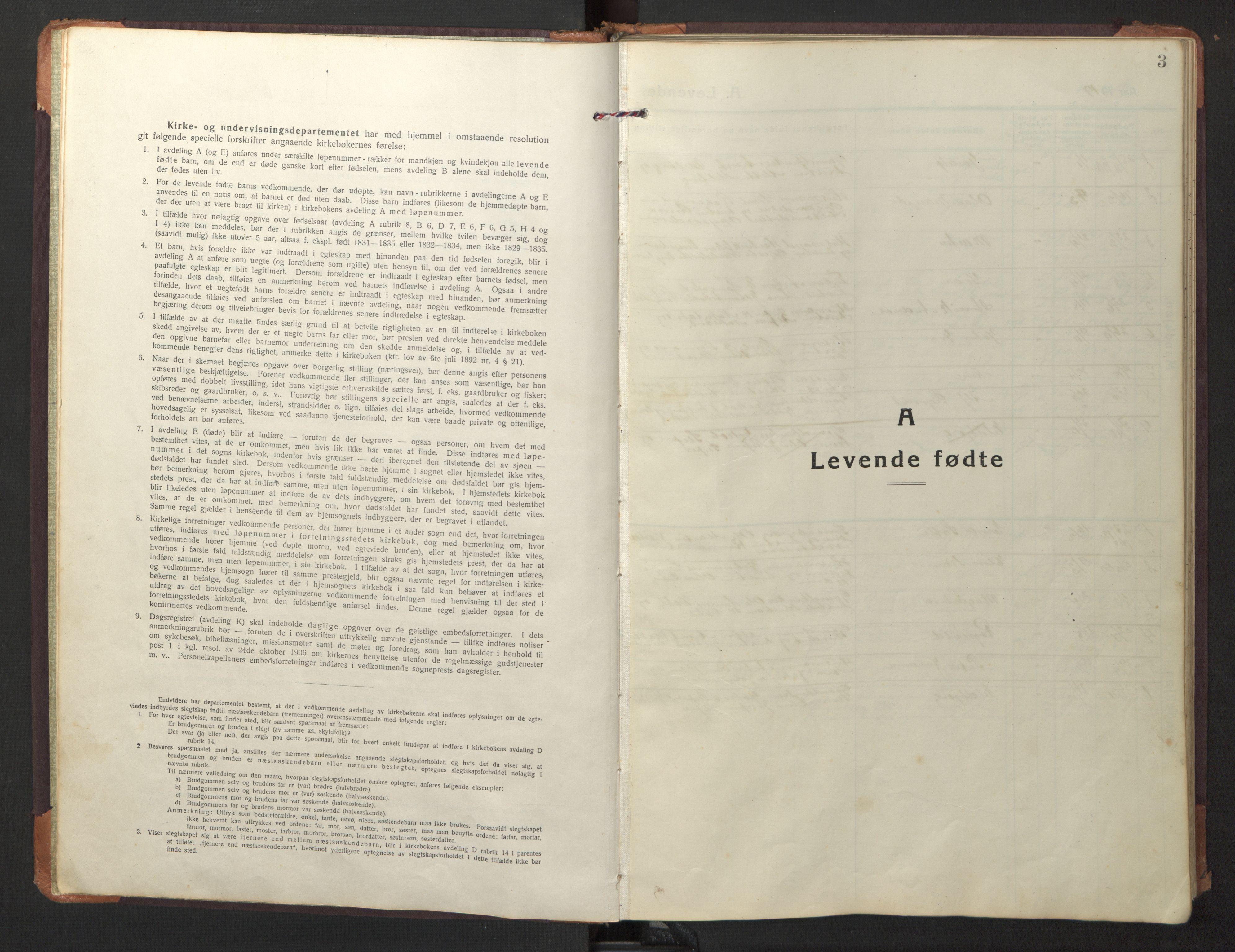 SAT, Ministerialprotokoller, klokkerbøker og fødselsregistre - Nord-Trøndelag, 733/L0328: Parish register (copy) no. 733C03, 1919-1966, p. 3