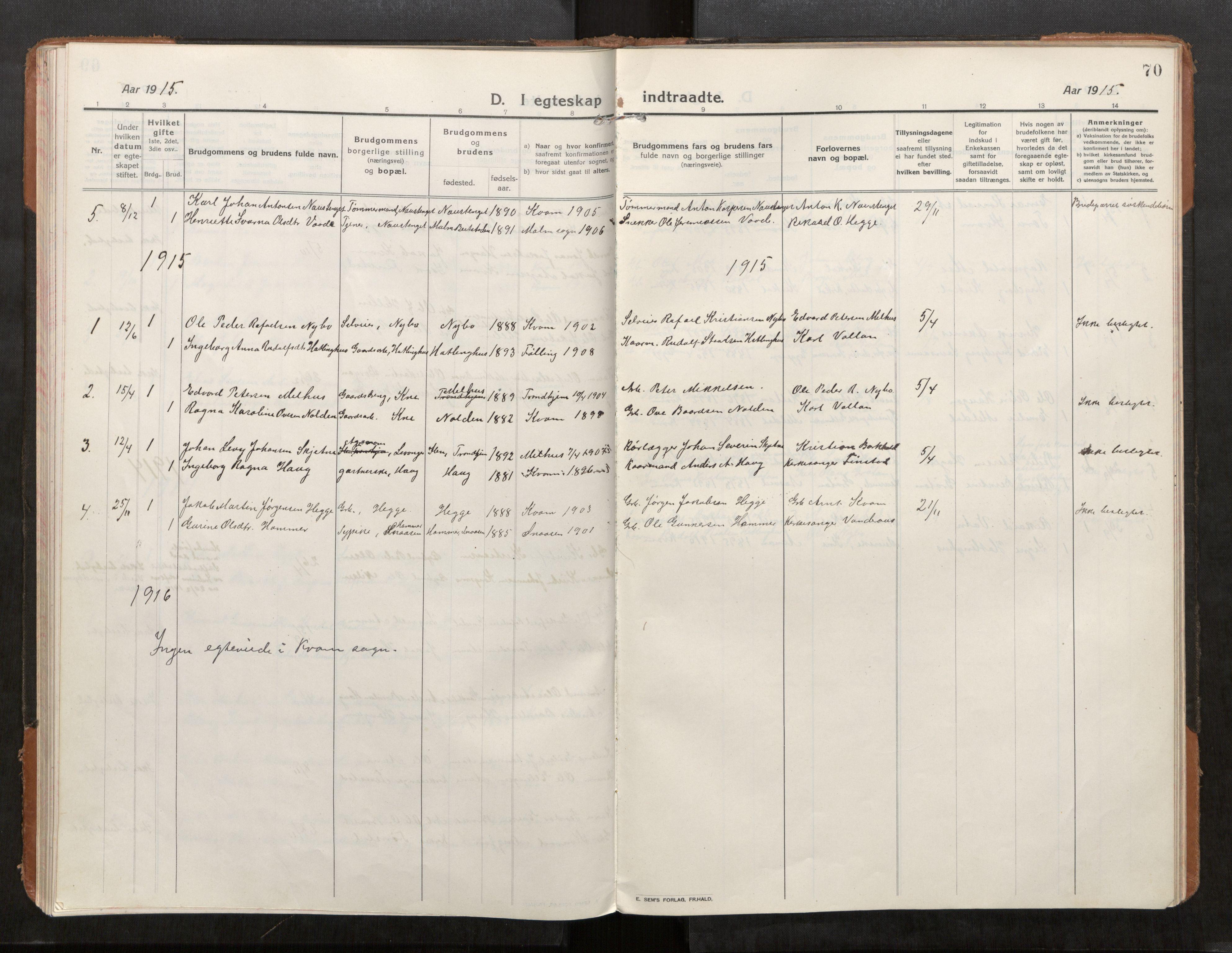 SAT, Stod sokneprestkontor, I/I1/I1a/L0004: Parish register (official) no. 4, 1913-1933, p. 70
