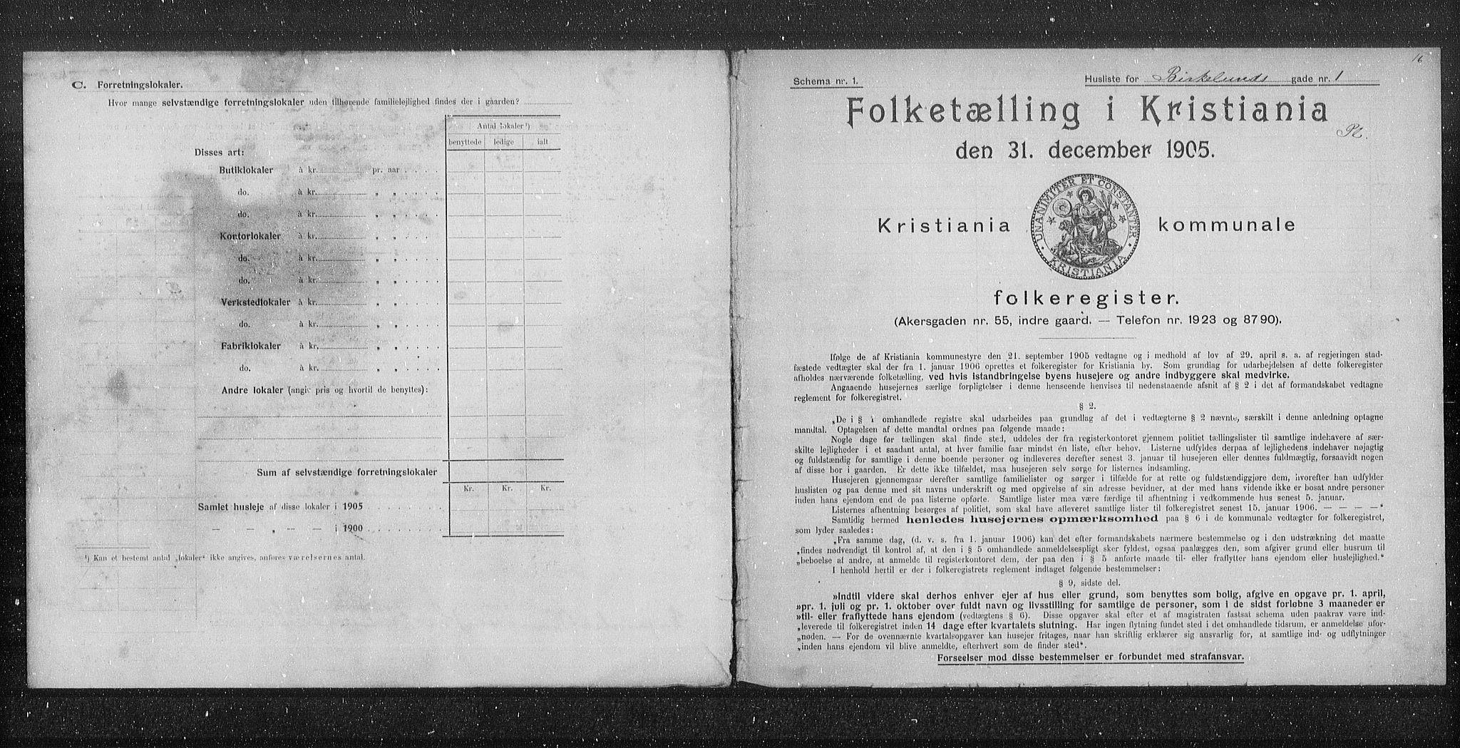 OBA, Municipal Census 1905 for Kristiania, 1905, p. 2434