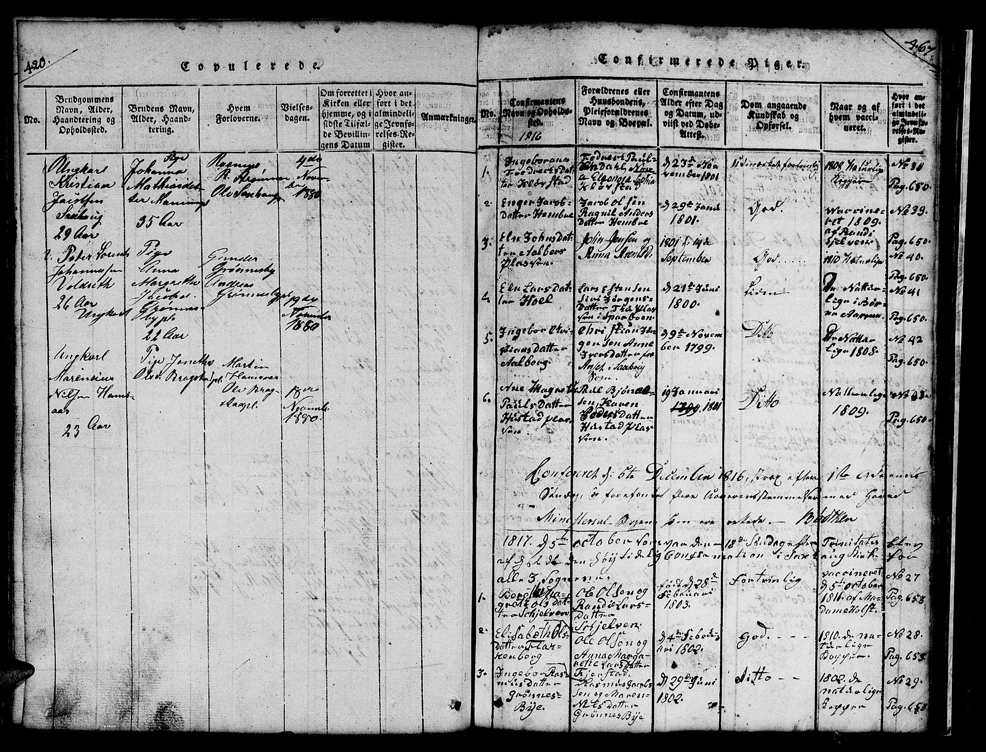 SAT, Ministerialprotokoller, klokkerbøker og fødselsregistre - Nord-Trøndelag, 732/L0317: Parish register (copy) no. 732C01, 1816-1881, p. 420-467
