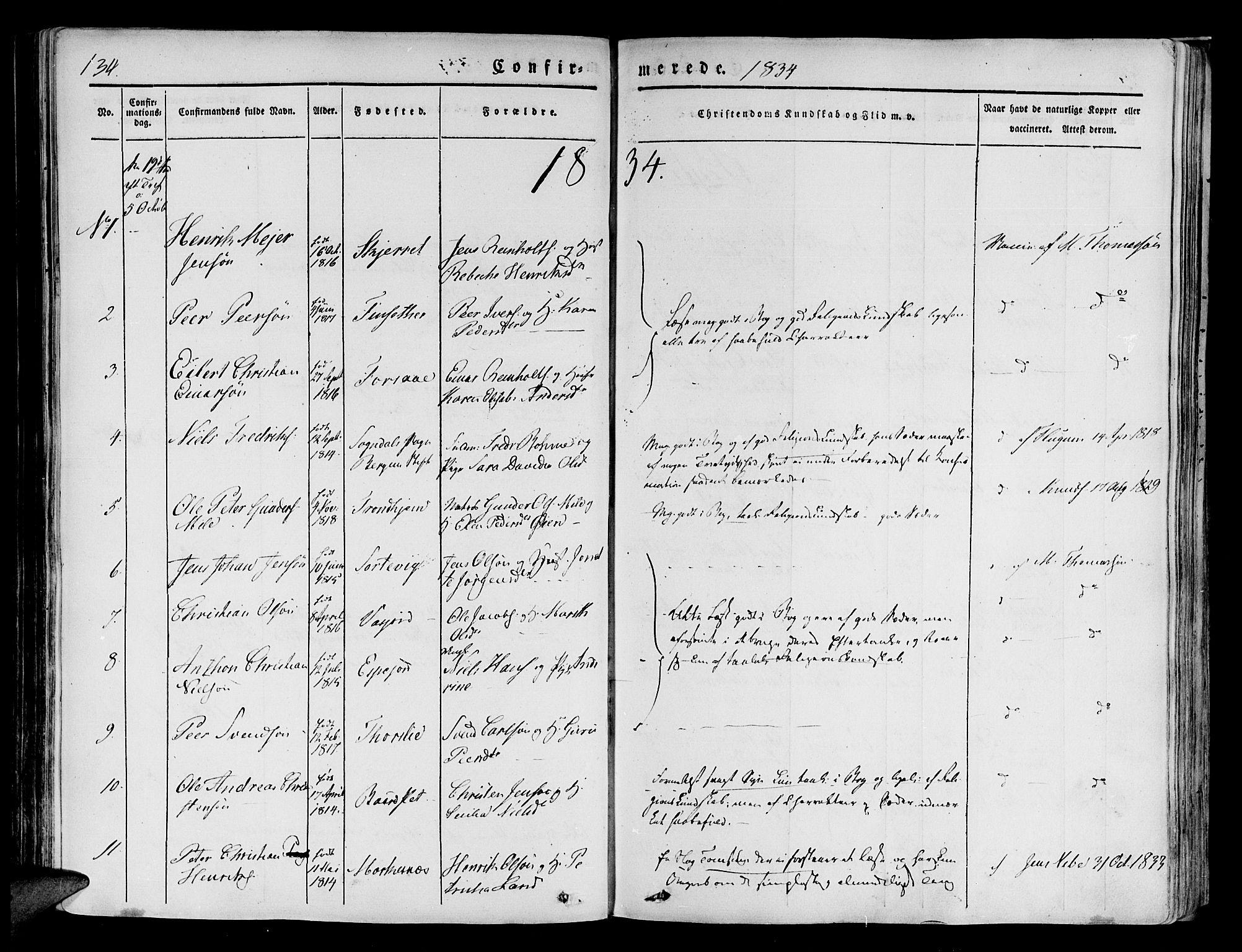SATØ, Tranøy sokneprestkontor, I/Ia/Iaa/L0005kirke: Parish register (official) no. 5, 1829-1844, p. 134
