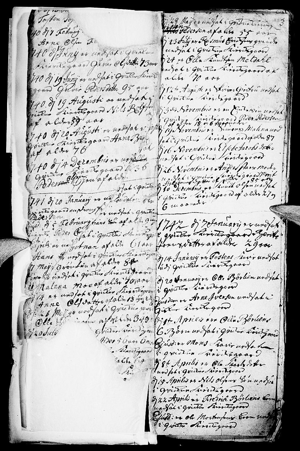 SAH, Kvikne prestekontor, Parish register (official) no. 1, 1740-1756, p. 2-3
