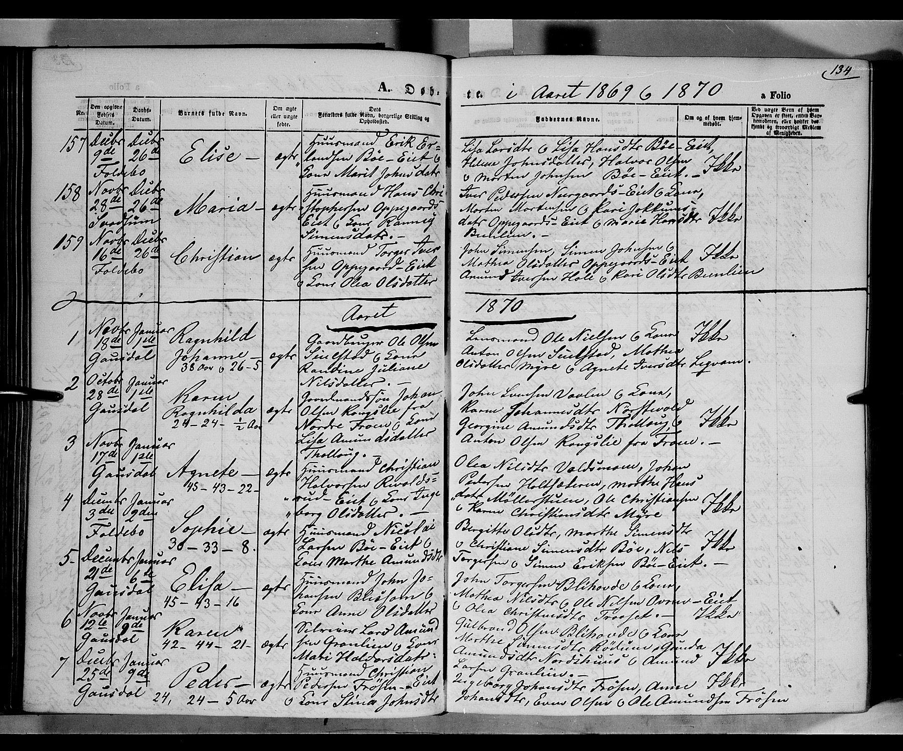 SAH, Gausdal prestekontor, Parish register (official) no. 9, 1862-1873, p. 134