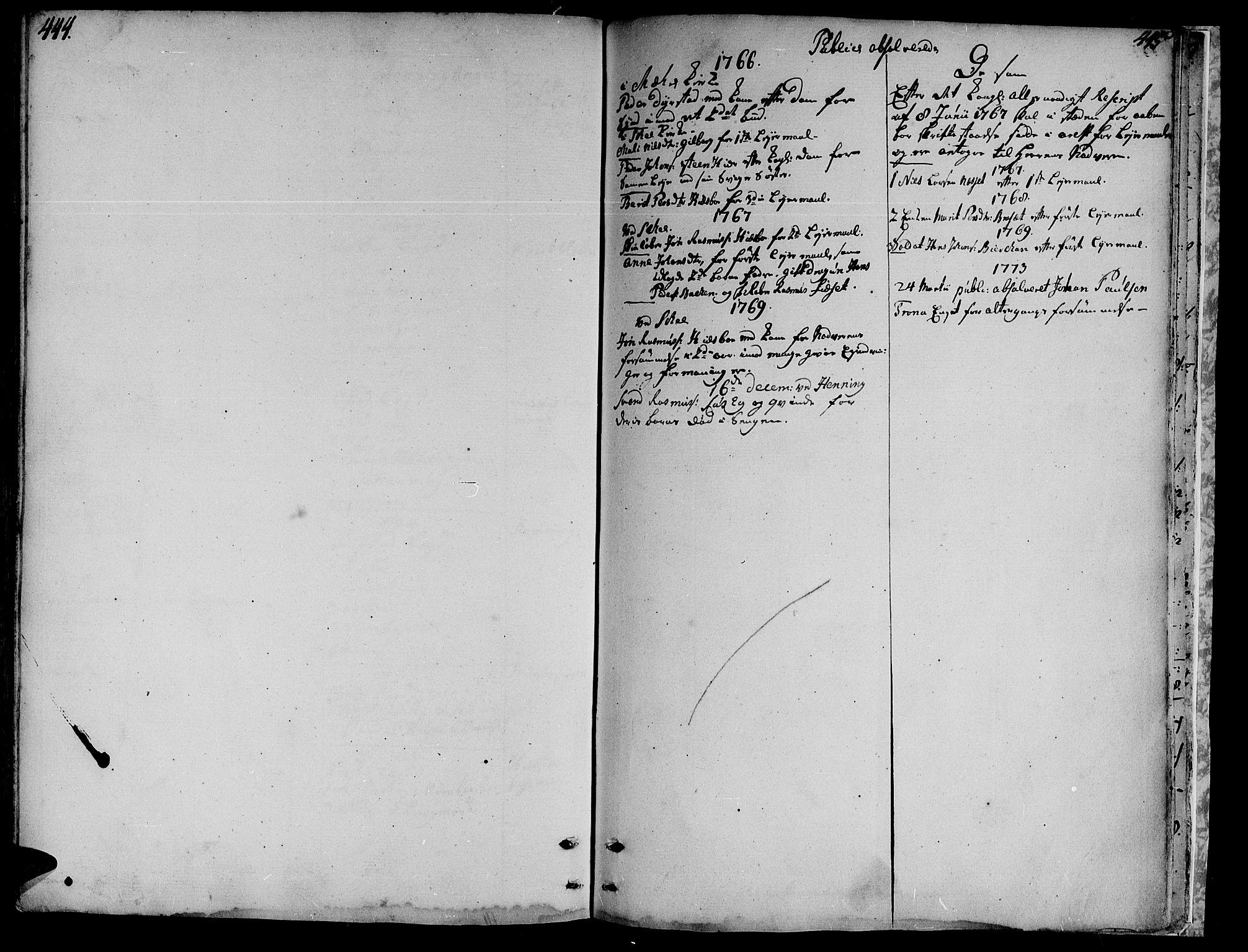 SAT, Ministerialprotokoller, klokkerbøker og fødselsregistre - Nord-Trøndelag, 735/L0331: Parish register (official) no. 735A02, 1762-1794, p. 444-445