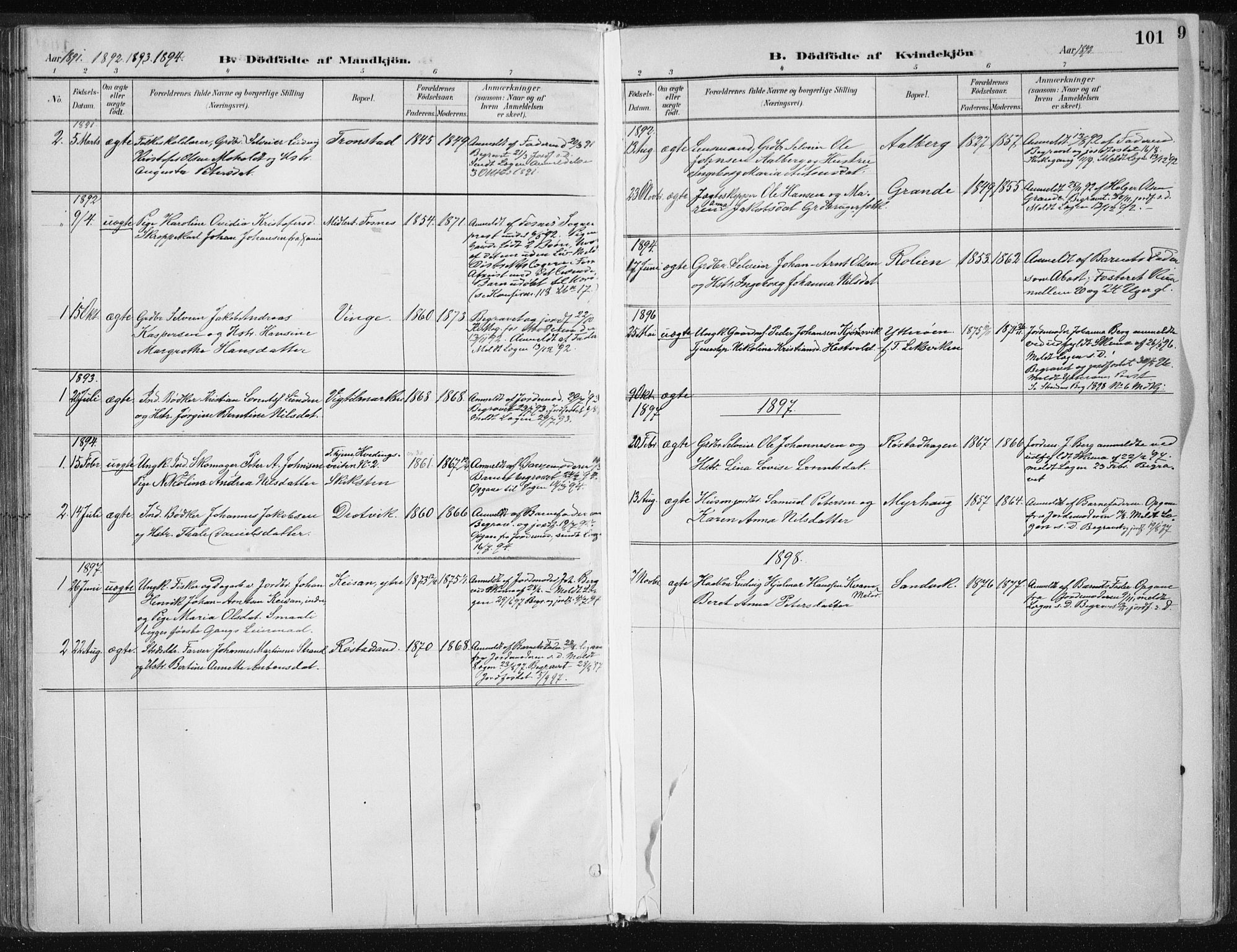 SAT, Ministerialprotokoller, klokkerbøker og fødselsregistre - Nord-Trøndelag, 701/L0010: Parish register (official) no. 701A10, 1883-1899, p. 101