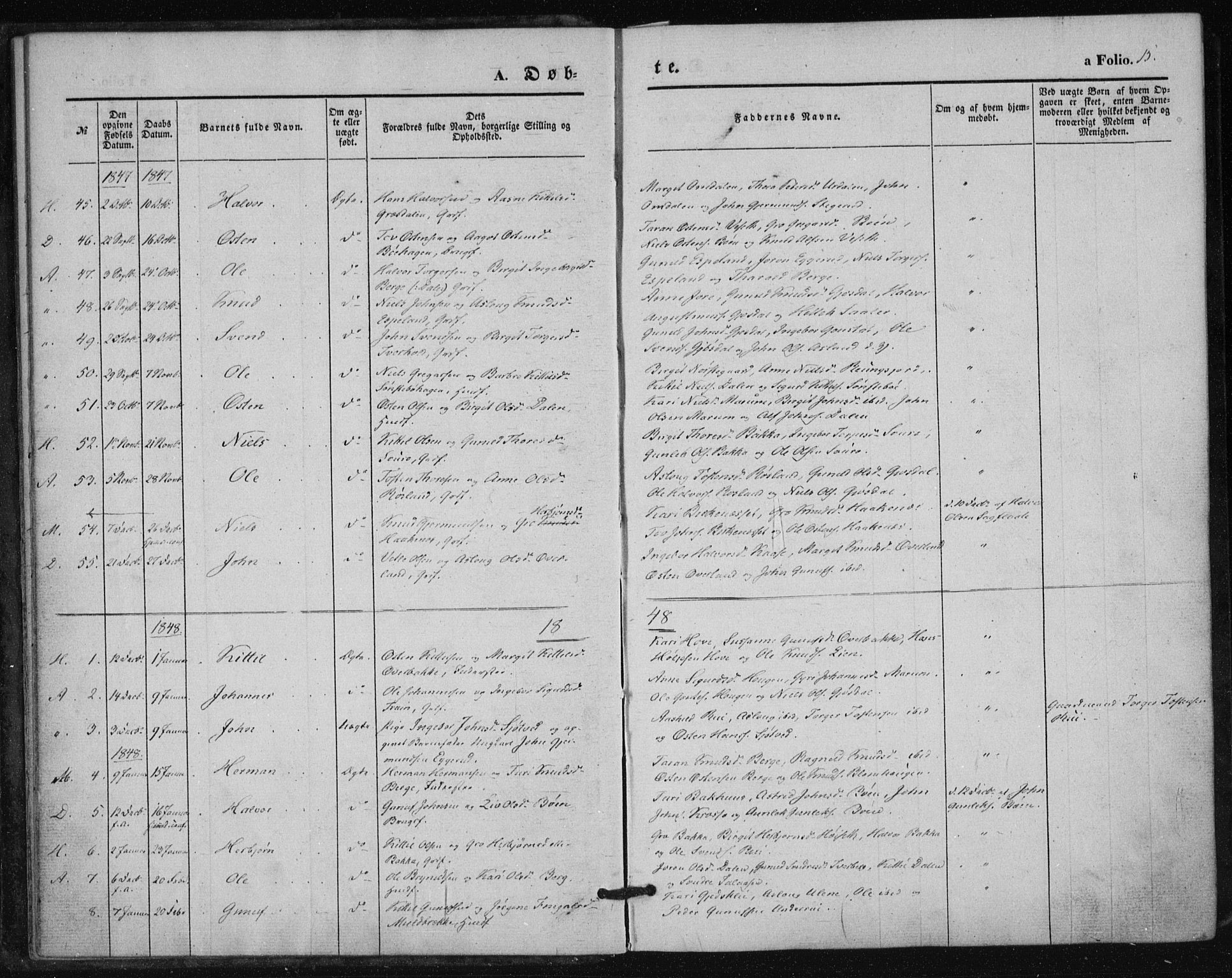 SAKO, Tinn kirkebøker, F/Fa/L0005: Parish register (official) no. I 5, 1844-1856, p. 15