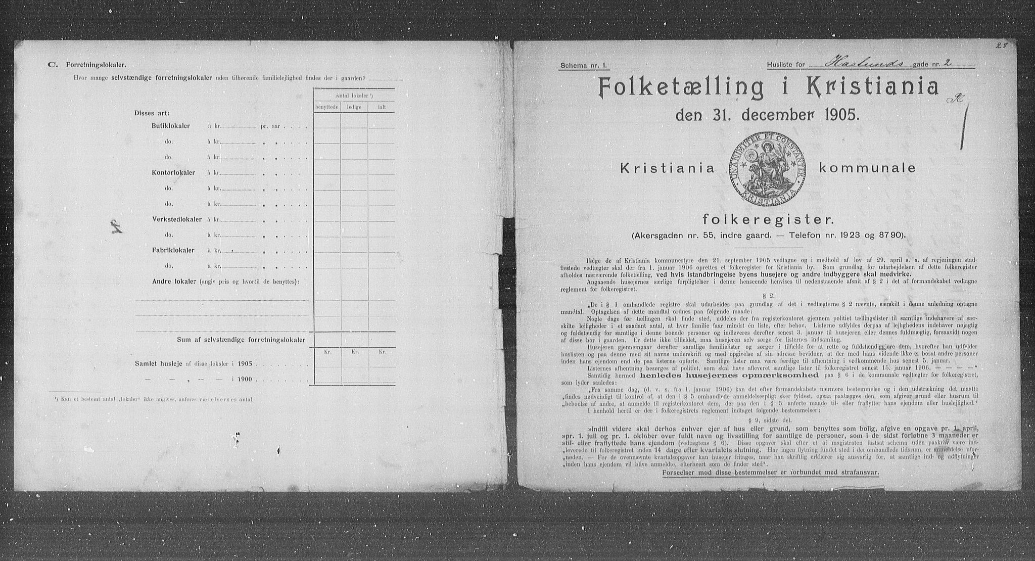 OBA, Municipal Census 1905 for Kristiania, 1905, p. 18149