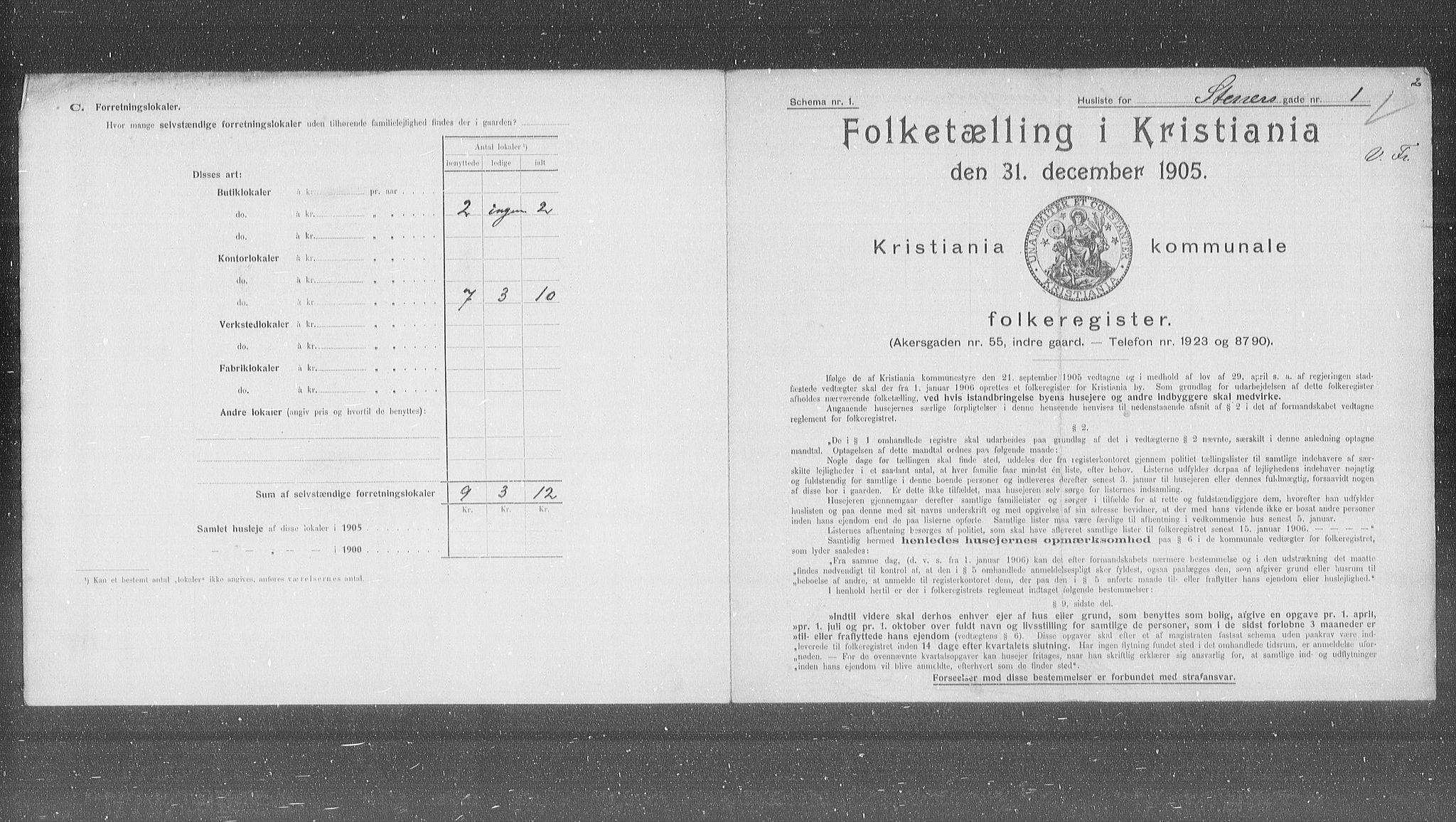 OBA, Municipal Census 1905 for Kristiania, 1905, p. 52139