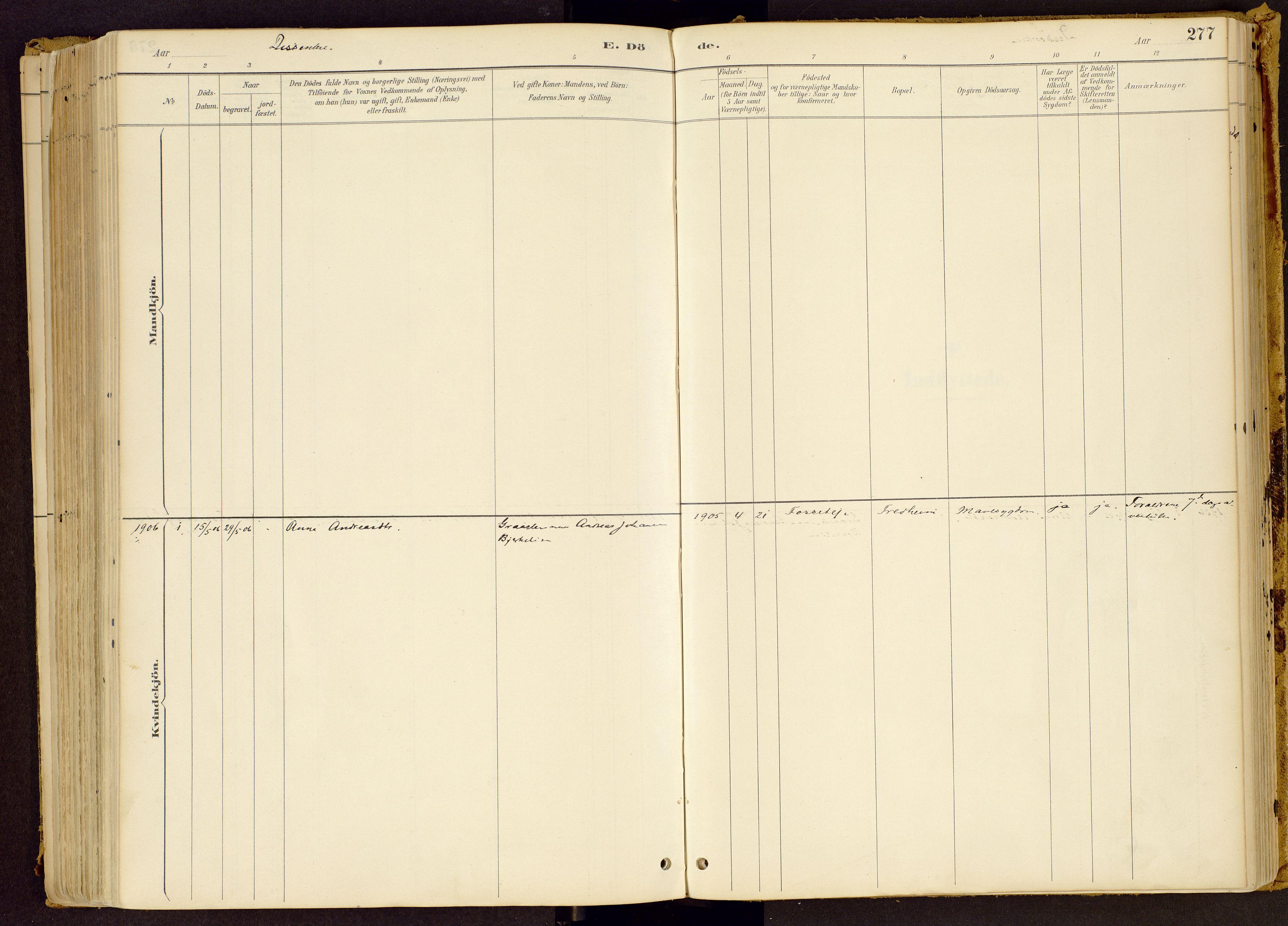 SAH, Vestre Gausdal prestekontor, Parish register (official) no. 1, 1887-1914, p. 277