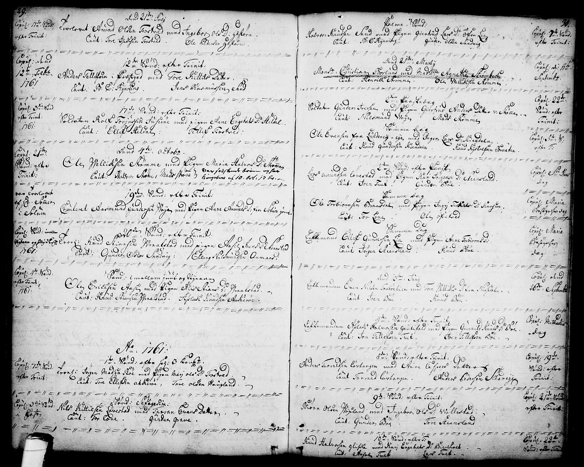 SAKO, Drangedal kirkebøker, F/Fa/L0001: Parish register (official) no. 1, 1697-1767, p. 29-30
