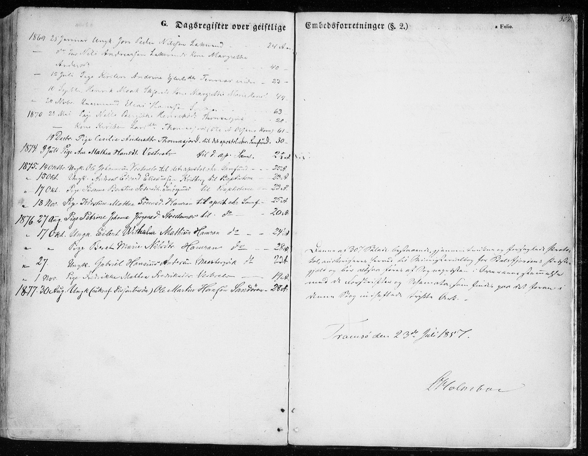 SATØ, Balsfjord sokneprestembete, Parish register (official) no. 3, 1856-1870, p. 307
