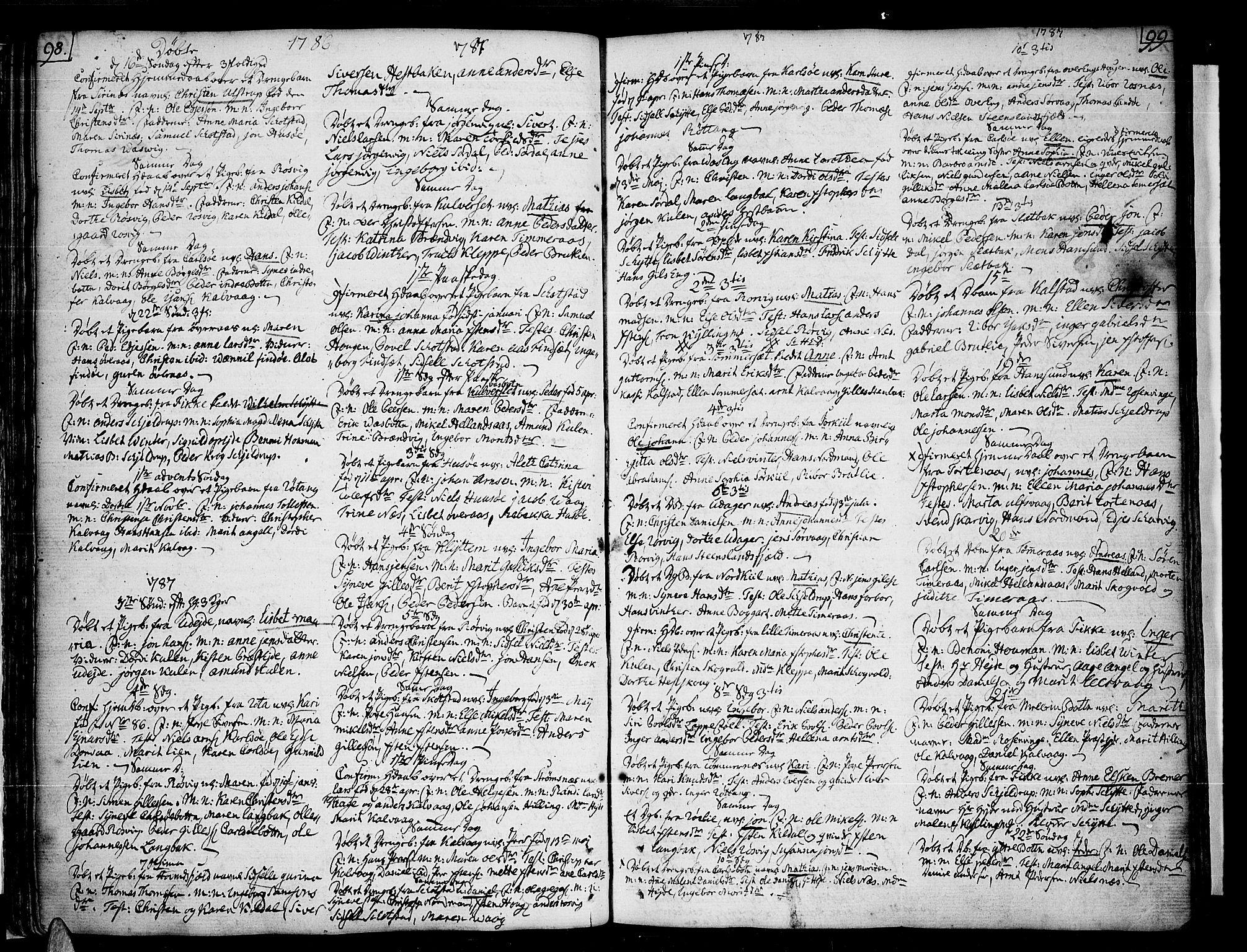 SAT, Ministerialprotokoller, klokkerbøker og fødselsregistre - Nordland, 859/L0841: Parish register (official) no. 859A01, 1766-1821, p. 98-99