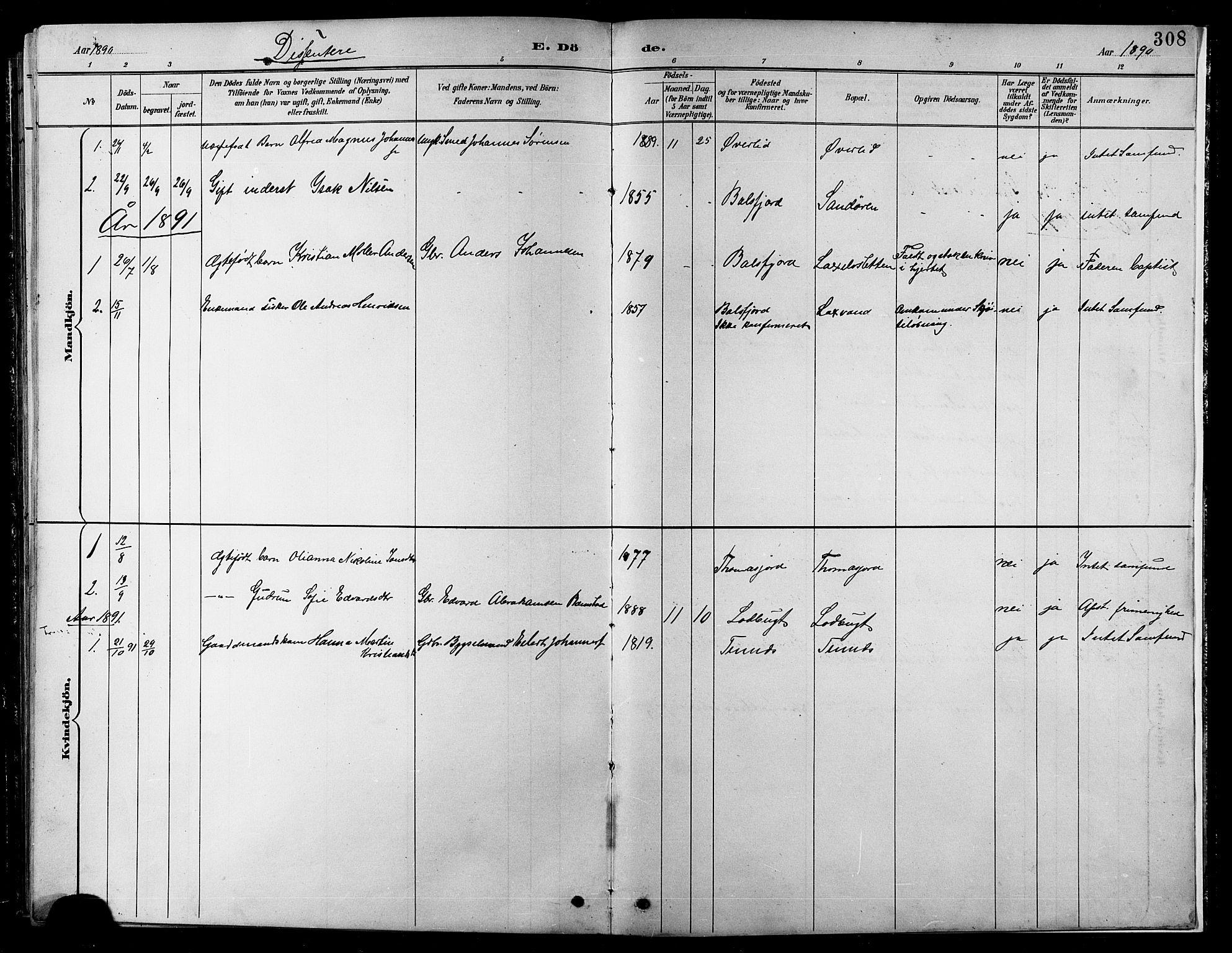 SATØ, Balsfjord sokneprestembete, Parish register (copy) no. 8, 1890-1906, p. 308