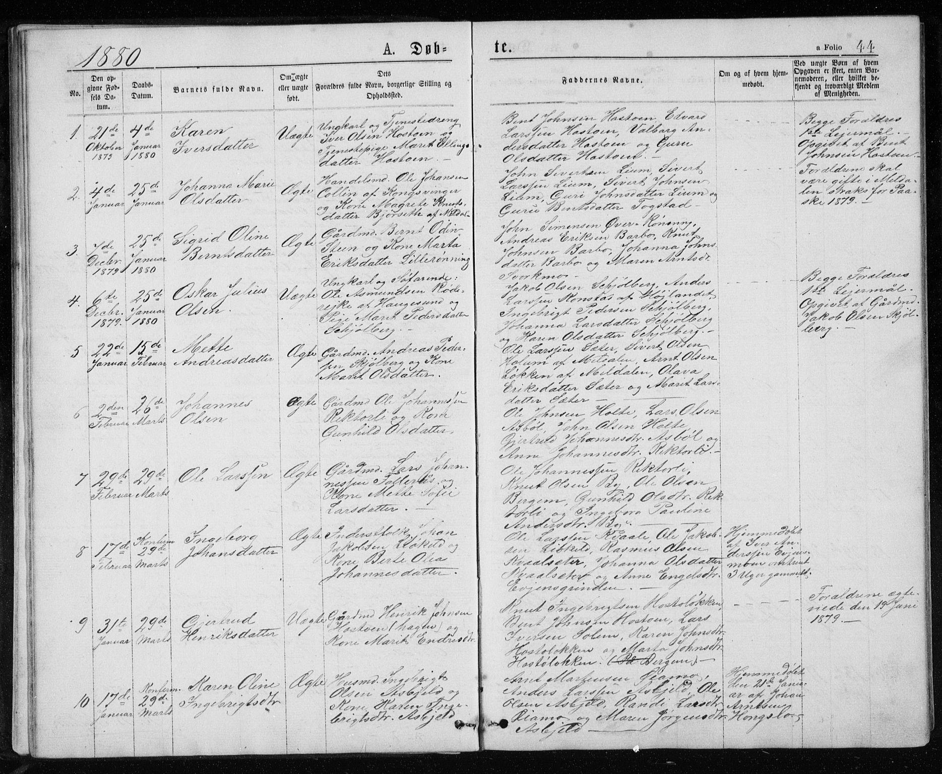 SAT, Ministerialprotokoller, klokkerbøker og fødselsregistre - Sør-Trøndelag, 671/L0843: Parish register (copy) no. 671C02, 1873-1892, p. 44