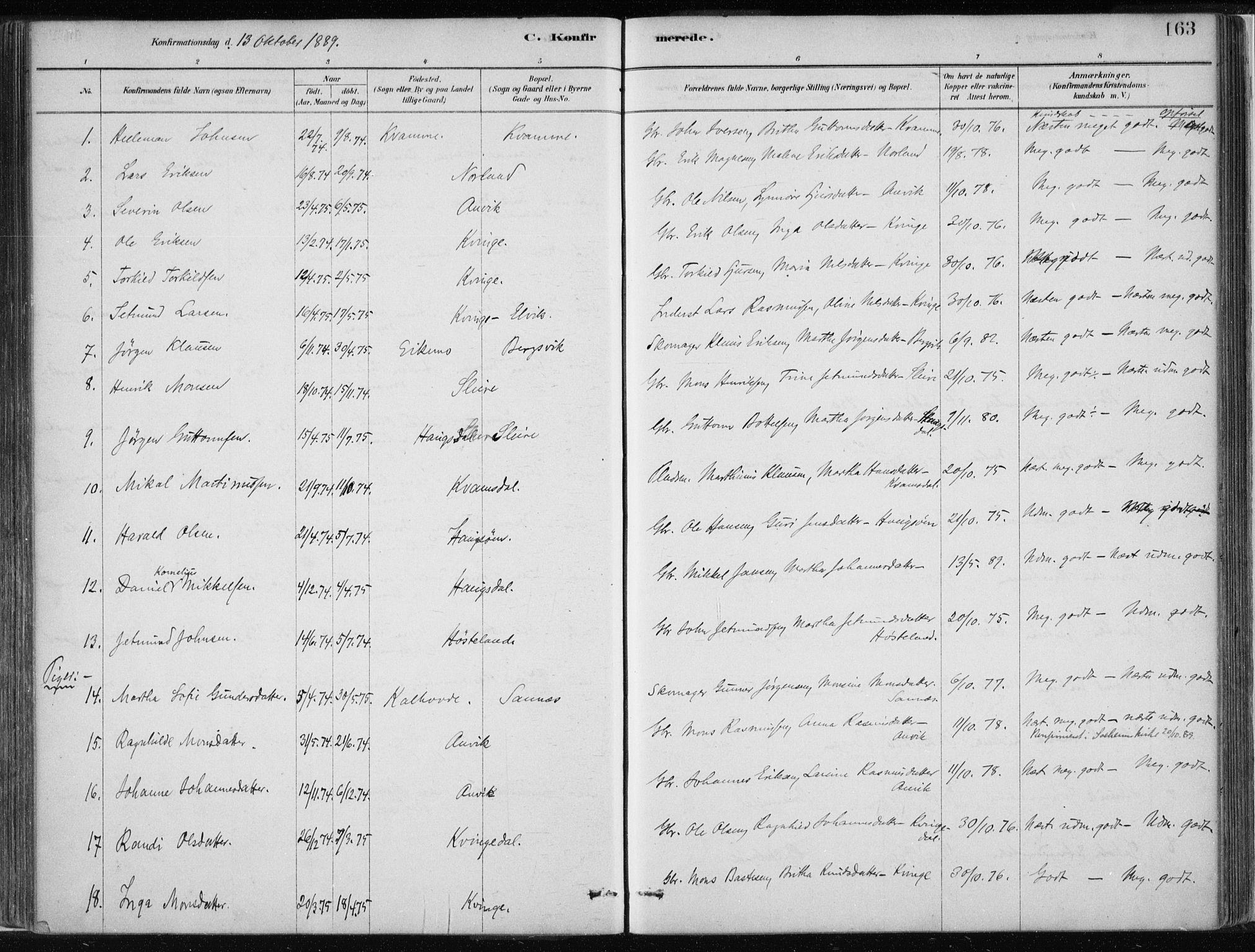 SAB, Masfjorden Soknepresembete, Parish register (official) no. B  1, 1876-1899, p. 163