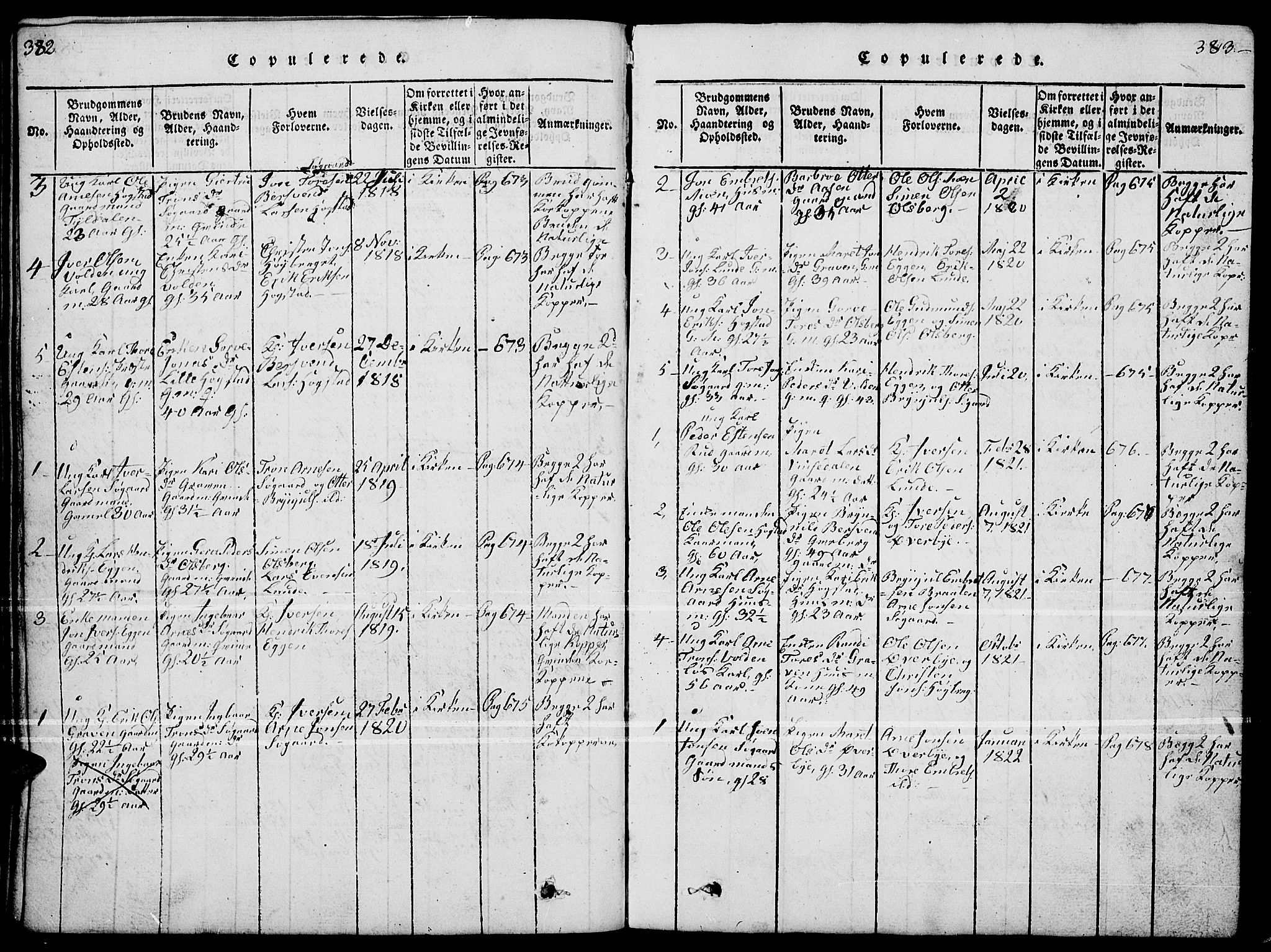 SAH, Tynset prestekontor, Parish register (copy) no. 4, 1814-1879, p. 382-383