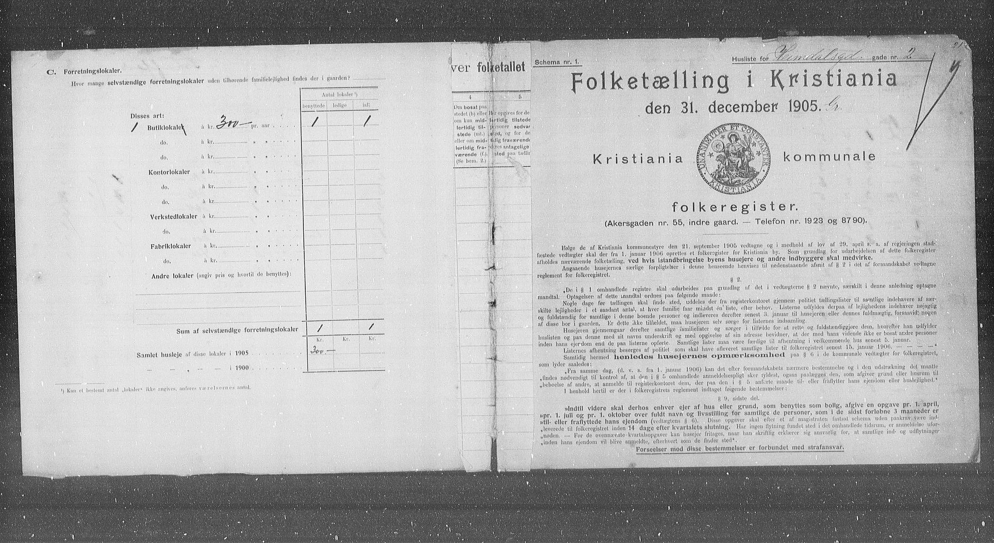OBA, Municipal Census 1905 for Kristiania, 1905, p. 19030