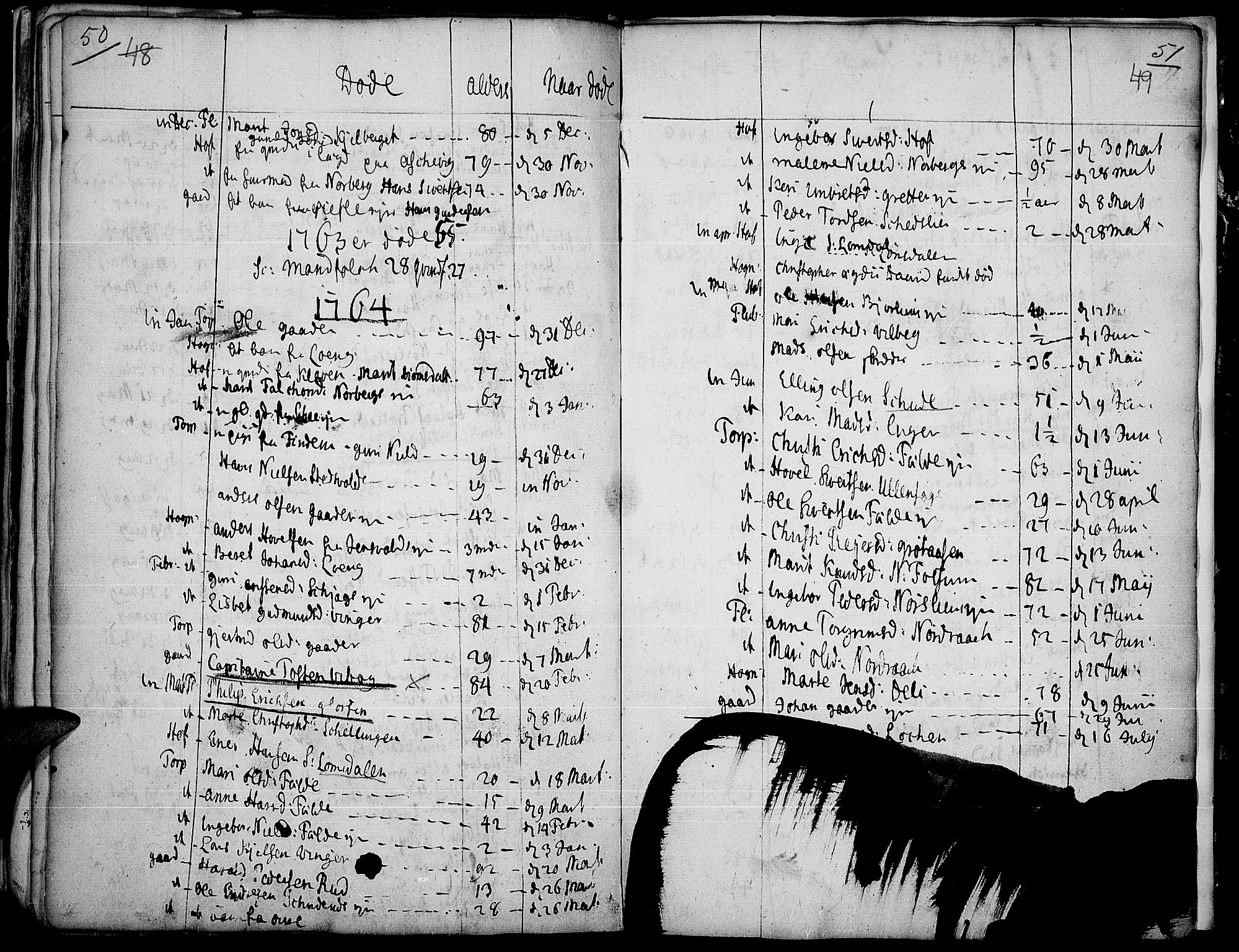 SAH, Land prestekontor, Parish register (official) no. 4, 1733-1764, p. 50-51