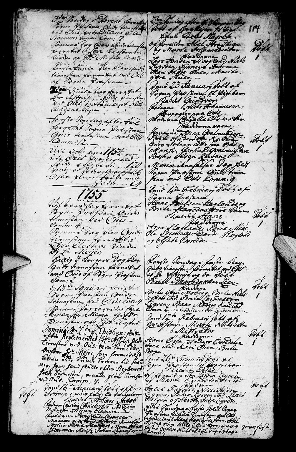 SAB, Os sokneprestembete*, Parish register (official) no. A 2, 1723-1758, p. 114