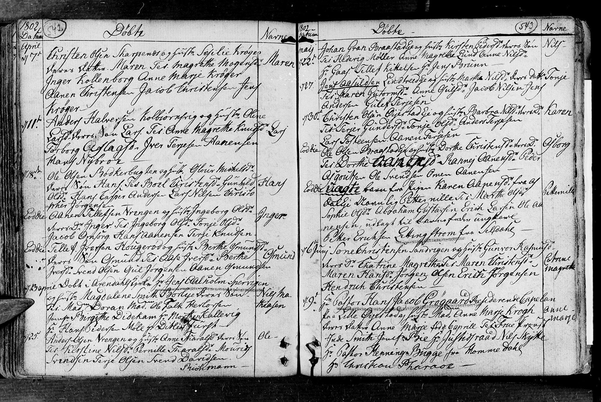 SAK, Øyestad sokneprestkontor, F/Fa/L0008: Parish register (official) no. A 8, 1777-1804, p. 542-543