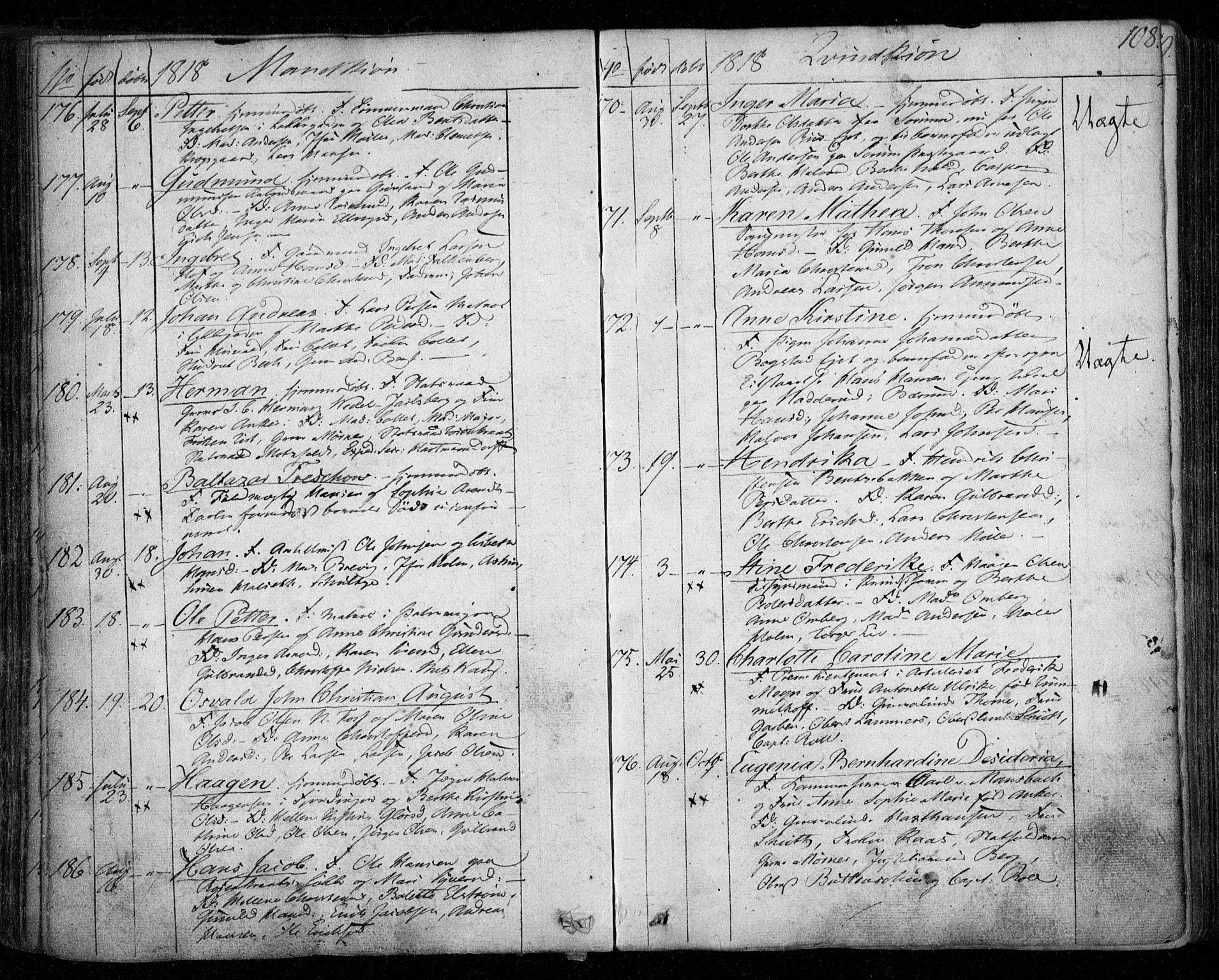 SAO, Aker prestekontor kirkebøker, F/L0011: Parish register (official) no. 11, 1810-1819, p. 108