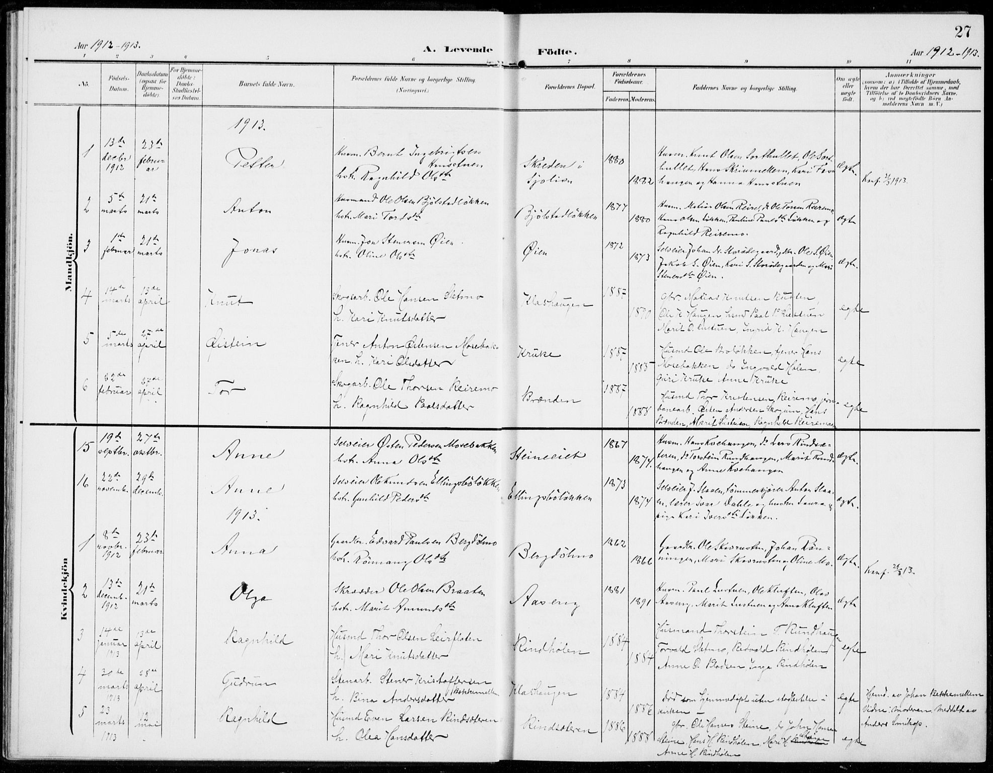 SAH, Sel prestekontor, Parish register (official) no. 1, 1905-1922, p. 27