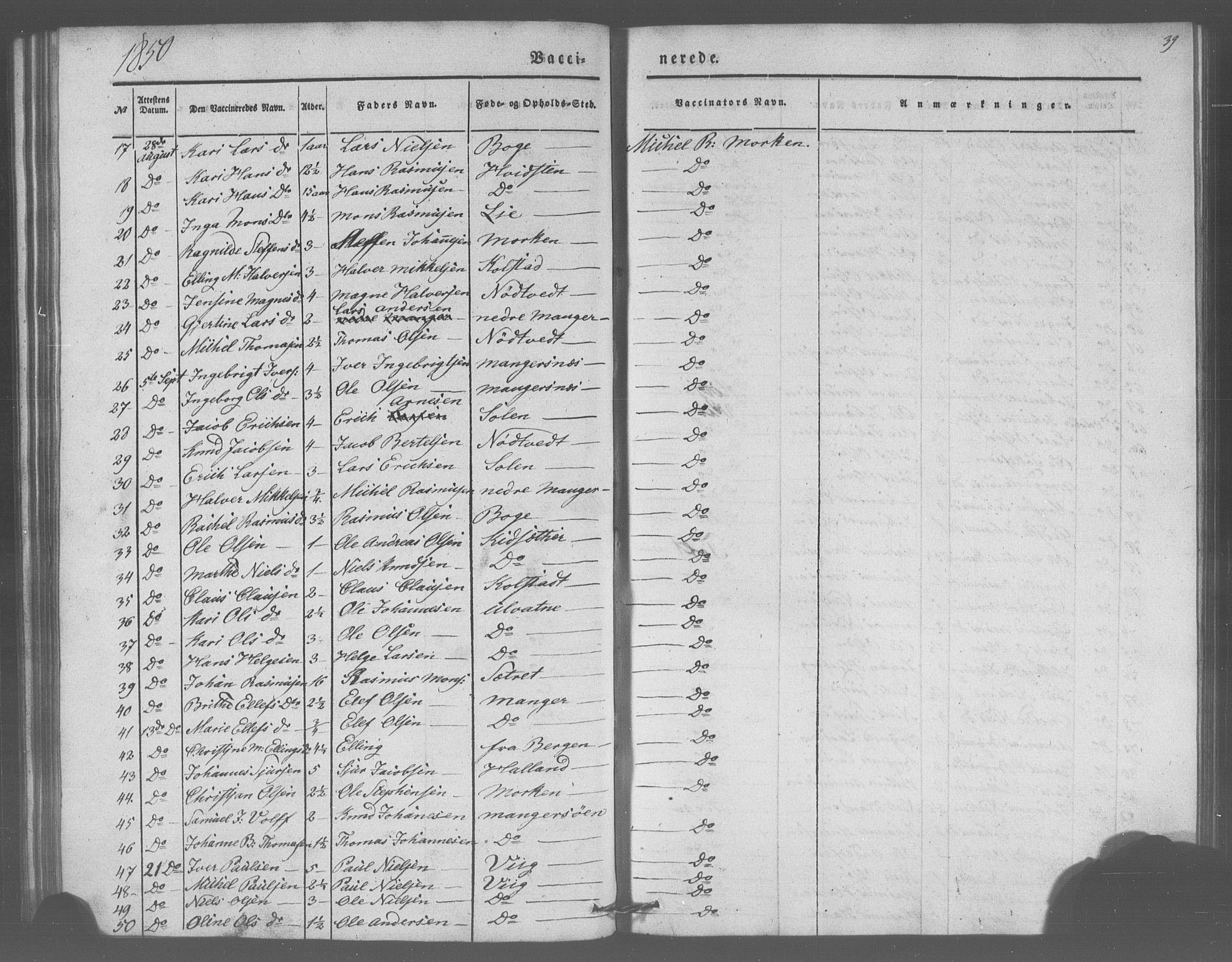 SAB, Manger sokneprestembete, H/Haa: Parish register (official) no. A 10, 1844-1859, p. 39
