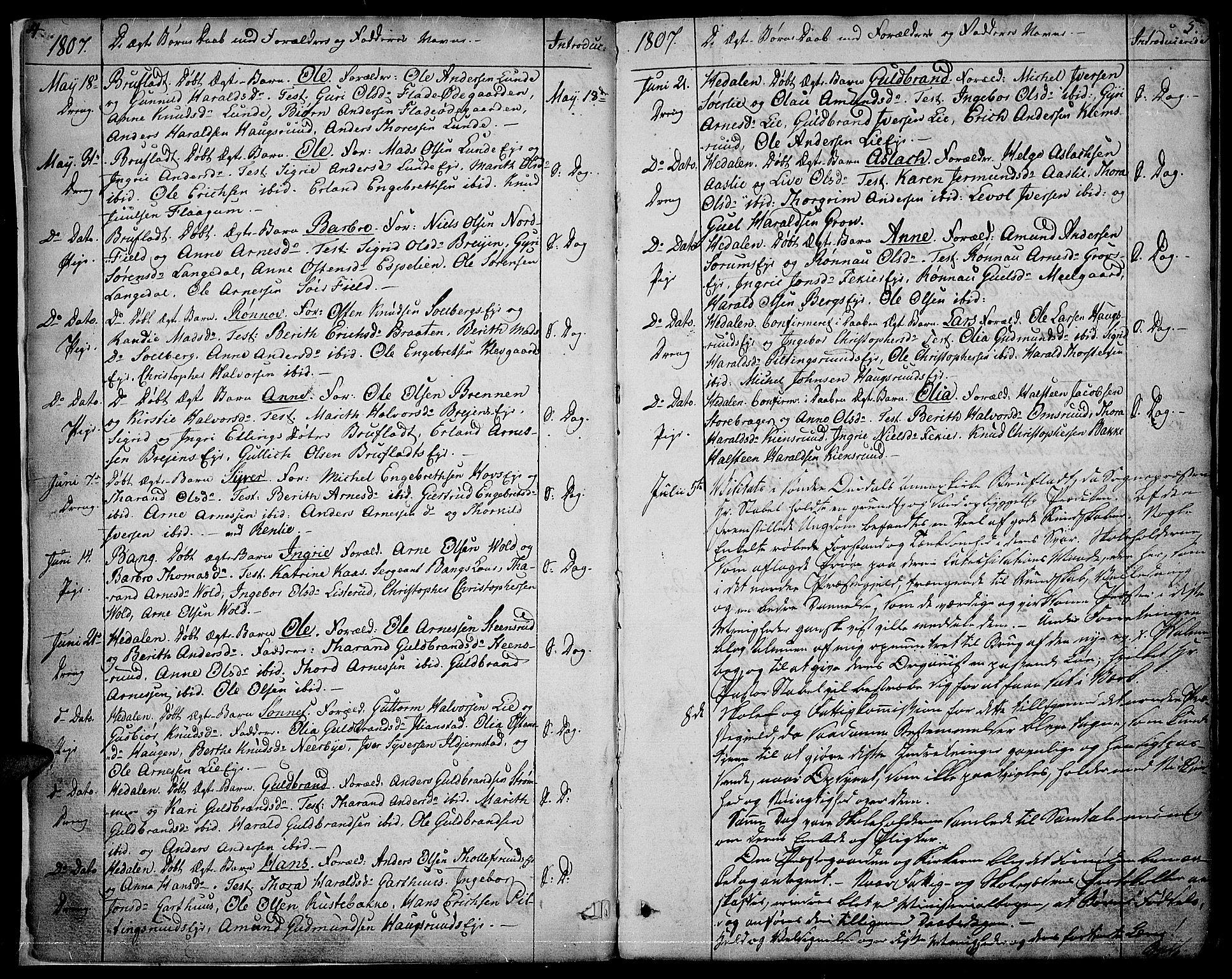 SAH, Sør-Aurdal prestekontor, Parish register (official) no. 1, 1807-1815, p. 4-5