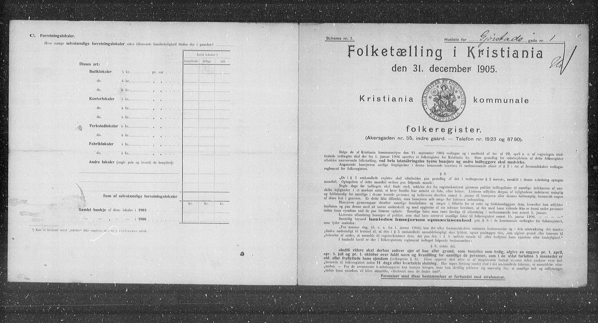OBA, Municipal Census 1905 for Kristiania, 1905, p. 15245