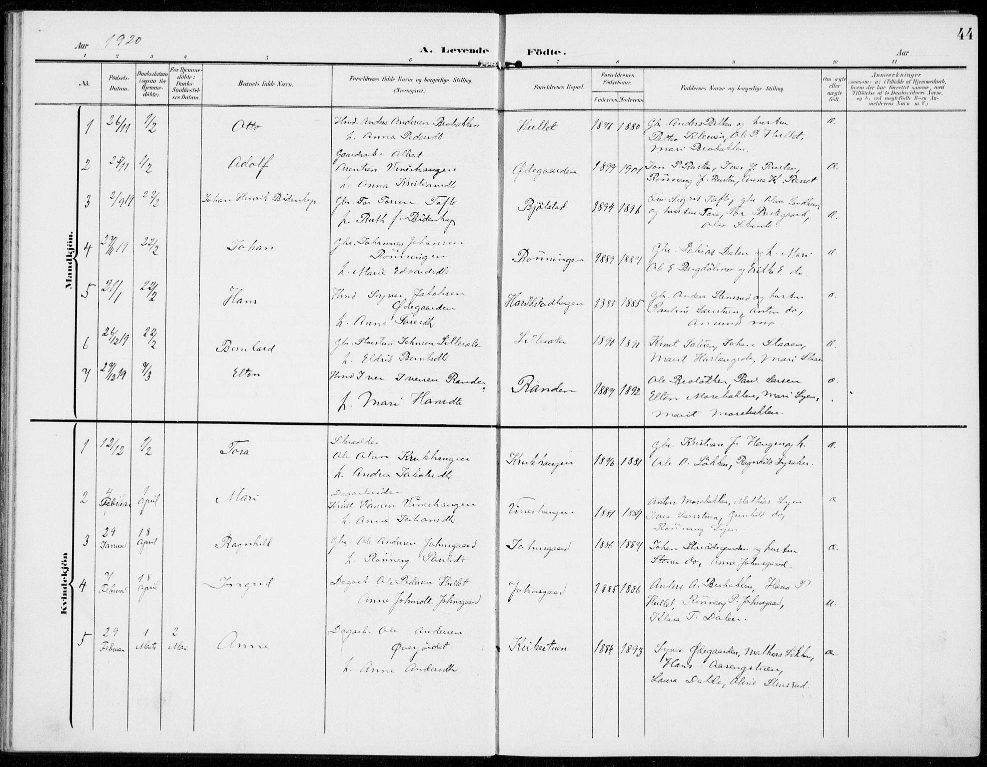 SAH, Sel prestekontor, Parish register (official) no. 1, 1905-1922, p. 44
