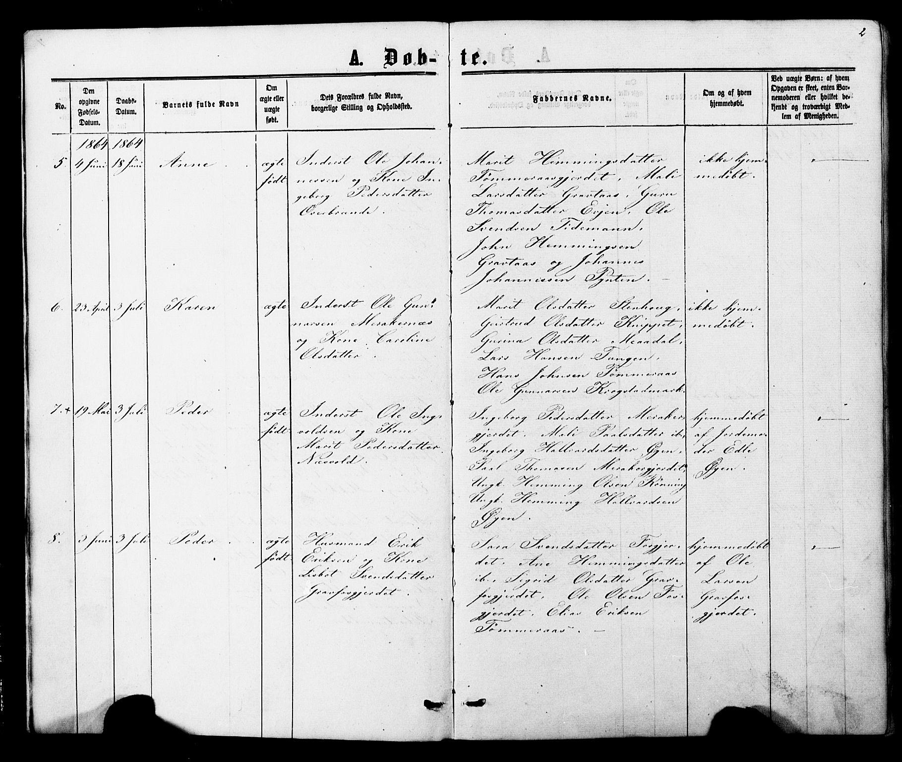 SAT, Ministerialprotokoller, klokkerbøker og fødselsregistre - Nord-Trøndelag, 706/L0049: Parish register (copy) no. 706C01, 1864-1895, p. 2