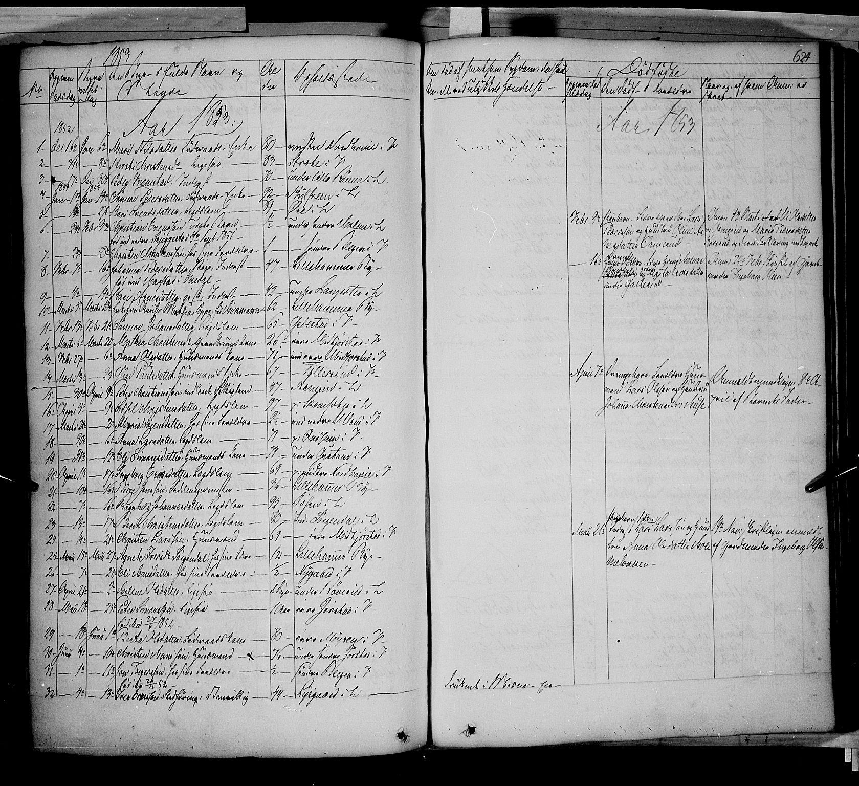 SAH, Fåberg prestekontor, Parish register (official) no. 5, 1836-1854, p. 623-624