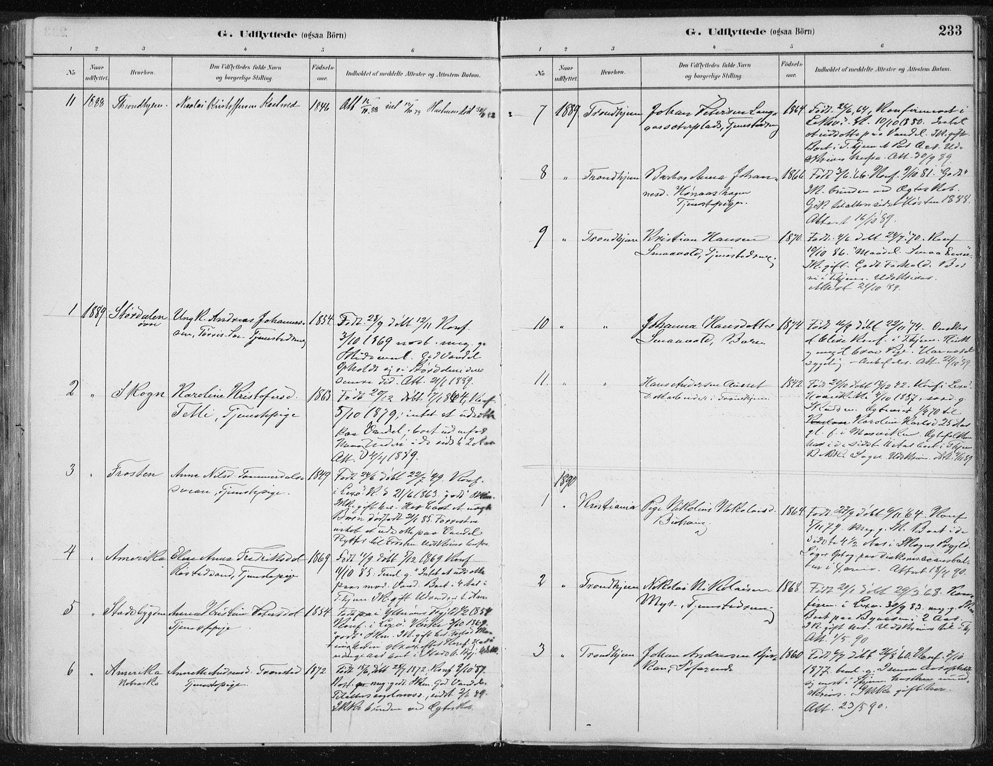 SAT, Ministerialprotokoller, klokkerbøker og fødselsregistre - Nord-Trøndelag, 701/L0010: Parish register (official) no. 701A10, 1883-1899, p. 233