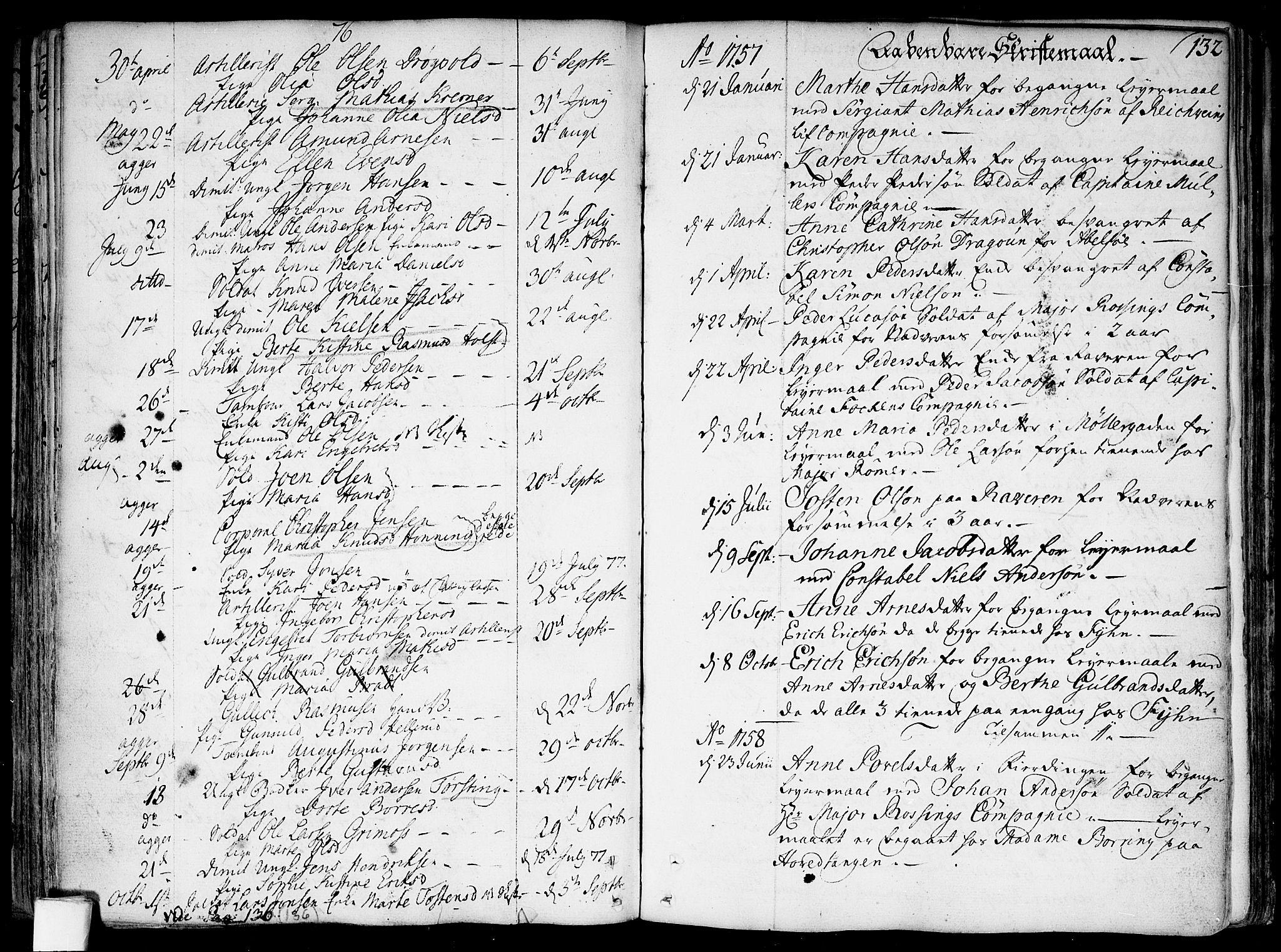 SAO, Garnisonsmenigheten Kirkebøker, F/Fa/L0002: Parish register (official) no. 2, 1757-1776, p. 132b