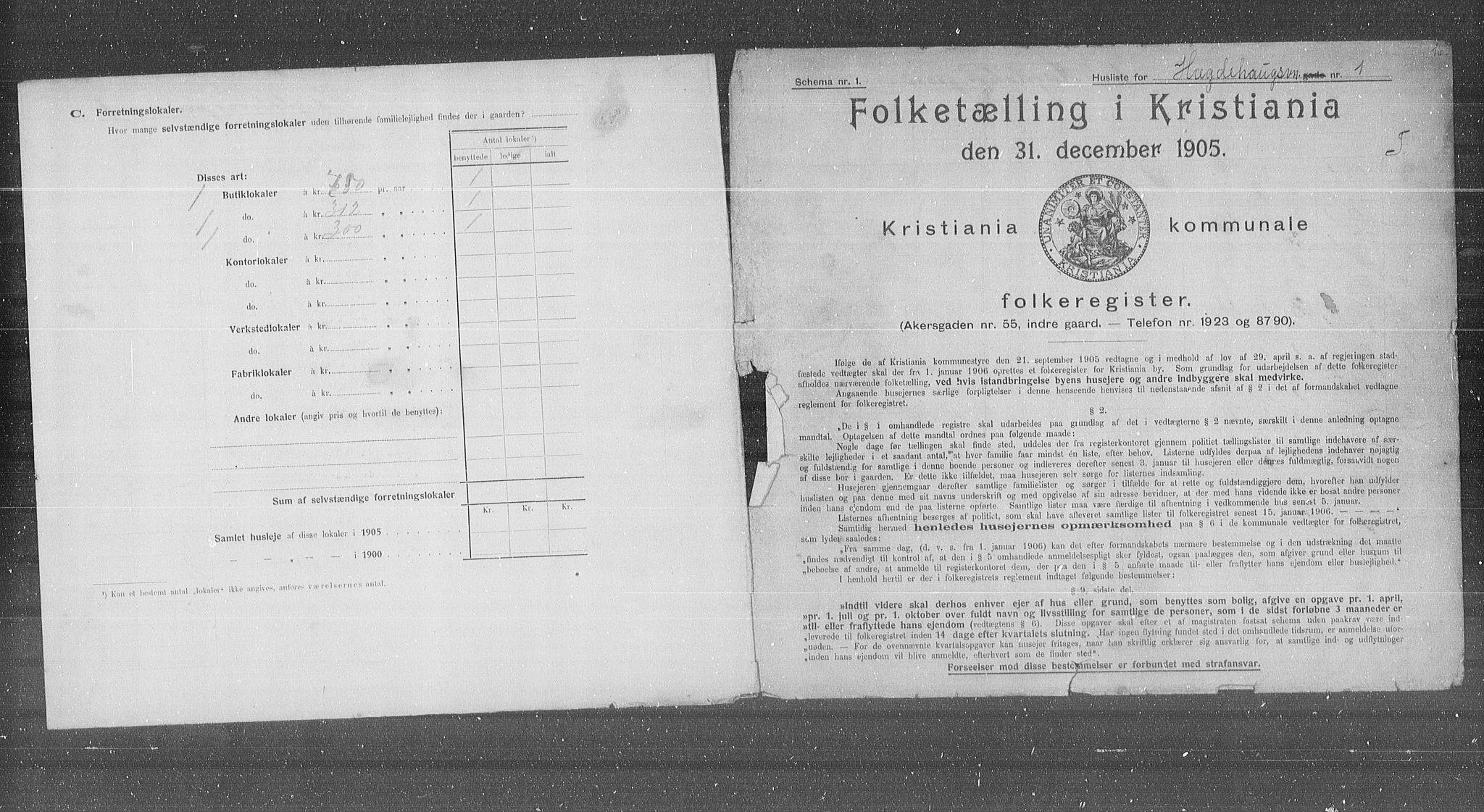 OBA, Municipal Census 1905 for Kristiania, 1905, p. 21958
