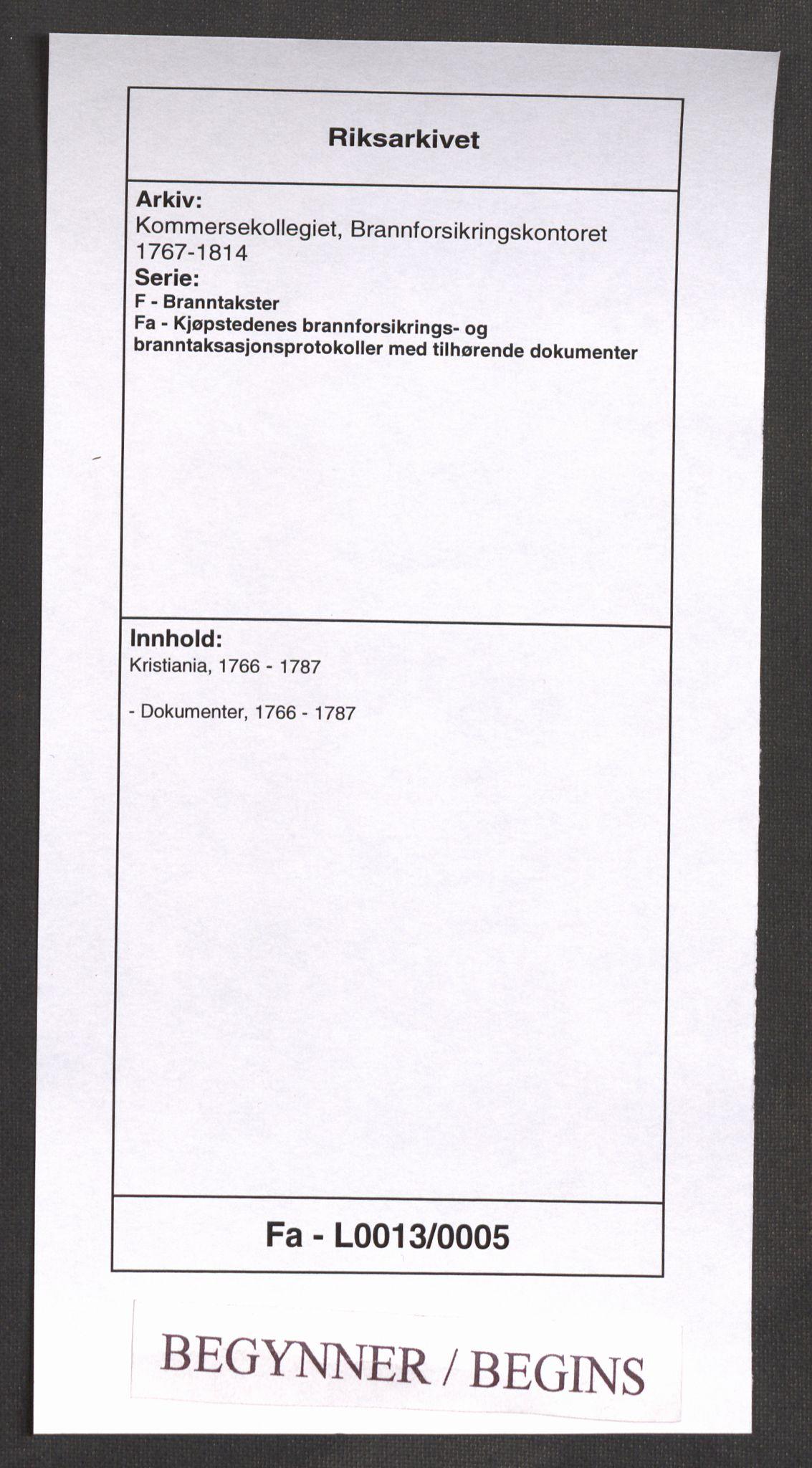 RA, Kommersekollegiet, Brannforsikringskontoret 1767-1814, F/Fa/L0013: Kristiania, 1766-1787