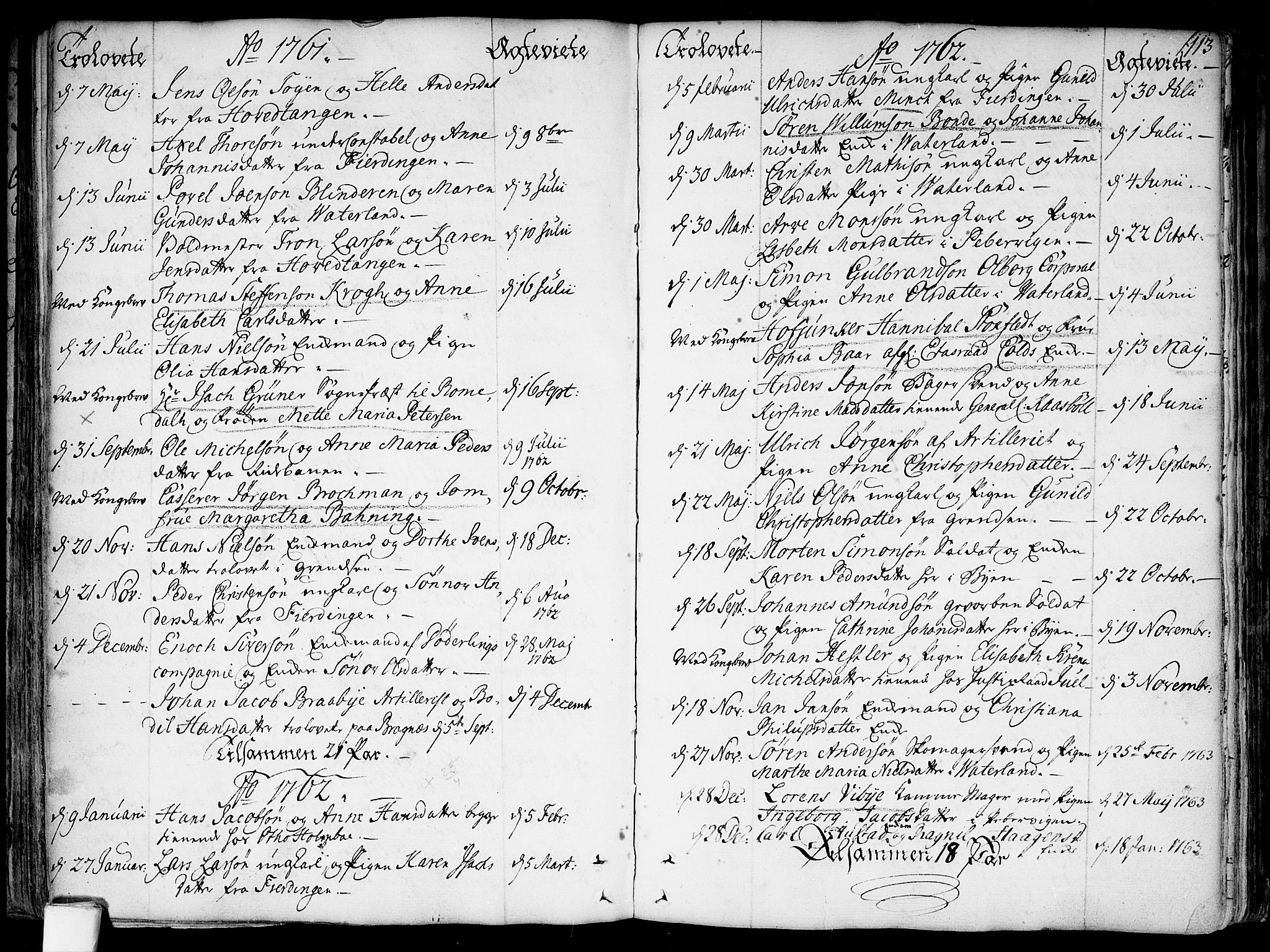 SAO, Garnisonsmenigheten Kirkebøker, F/Fa/L0002: Parish register (official) no. 2, 1757-1776, p. 113