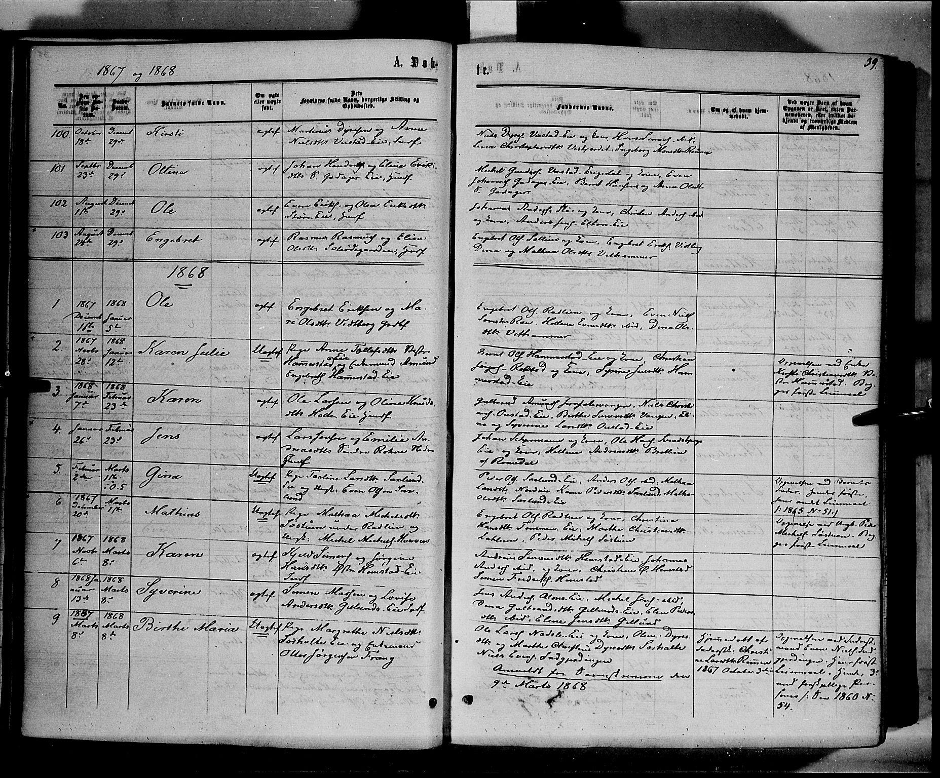 SAH, Stange prestekontor, K/L0013: Parish register (official) no. 13, 1862-1879, p. 39