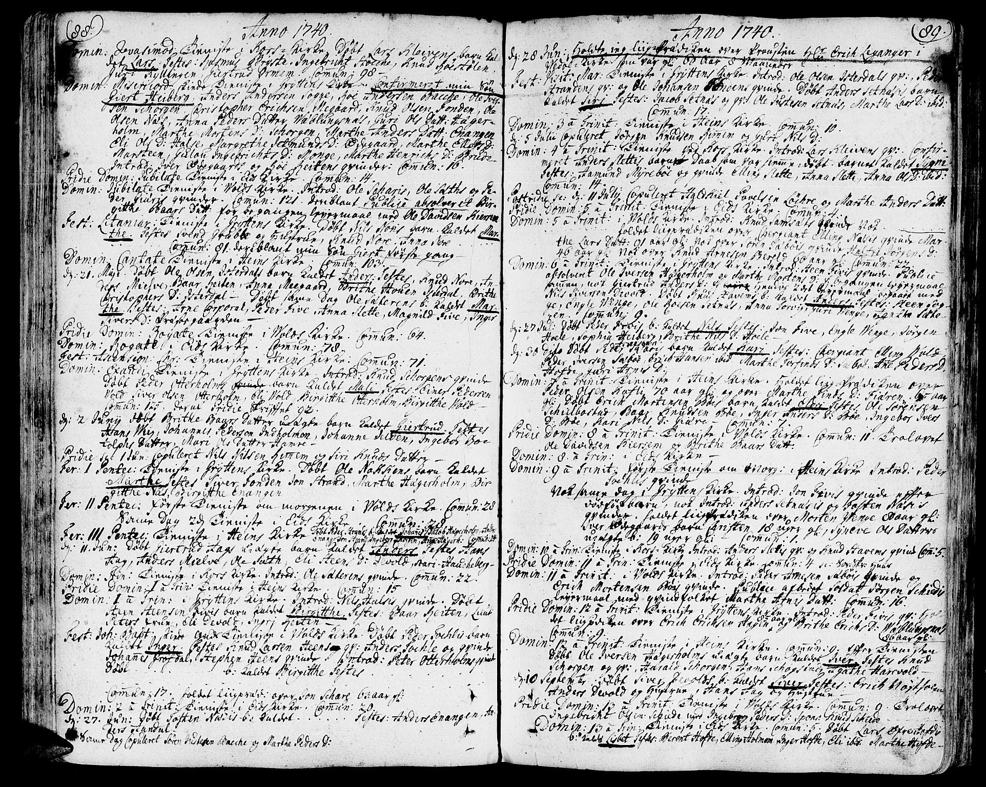 SAT, Ministerialprotokoller, klokkerbøker og fødselsregistre - Møre og Romsdal, 544/L0568: Parish register (official) no. 544A01, 1725-1763, p. 88-89