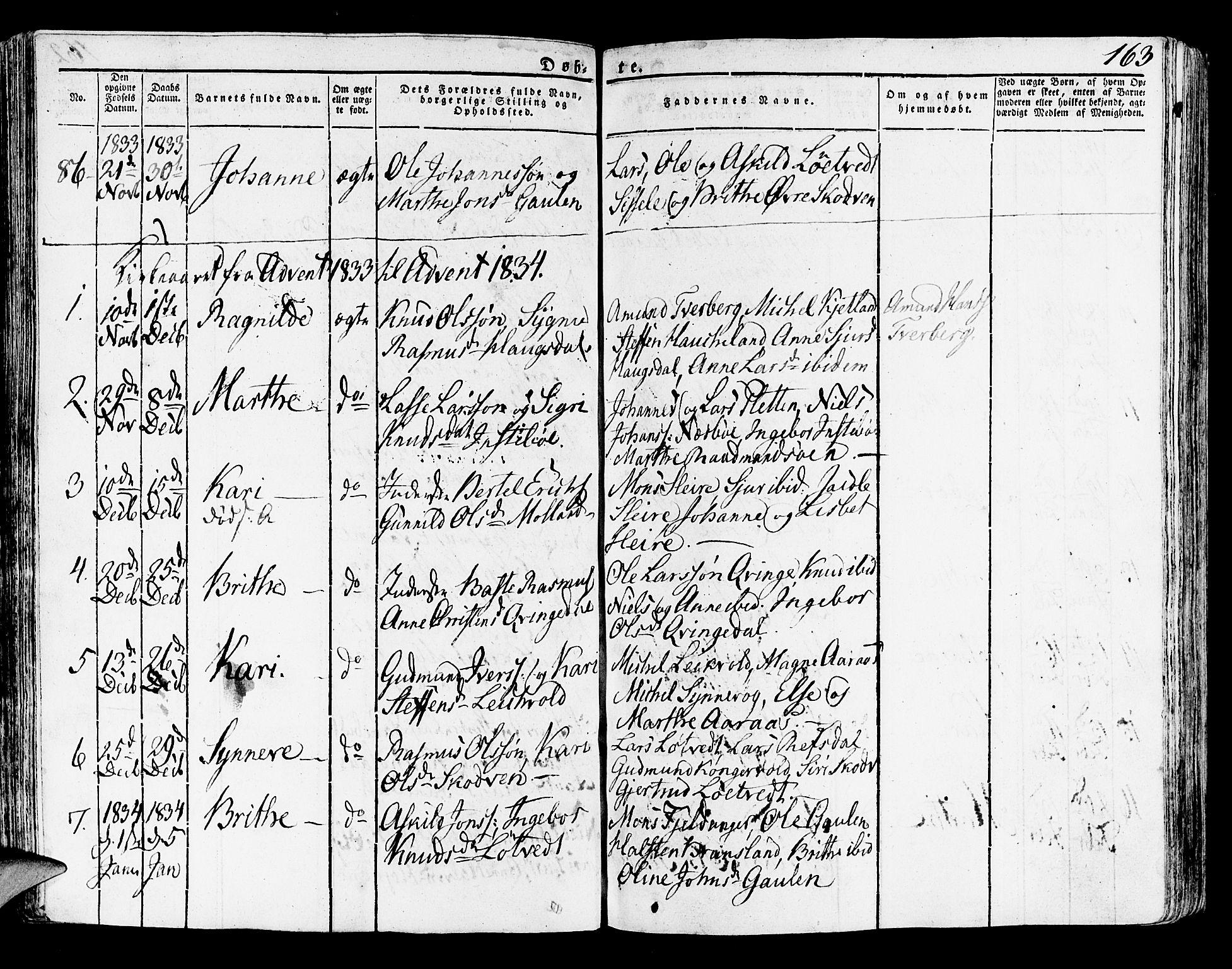 SAB, Lindås Sokneprestembete, H/Haa: Parish register (official) no. A 8, 1823-1836, p. 163
