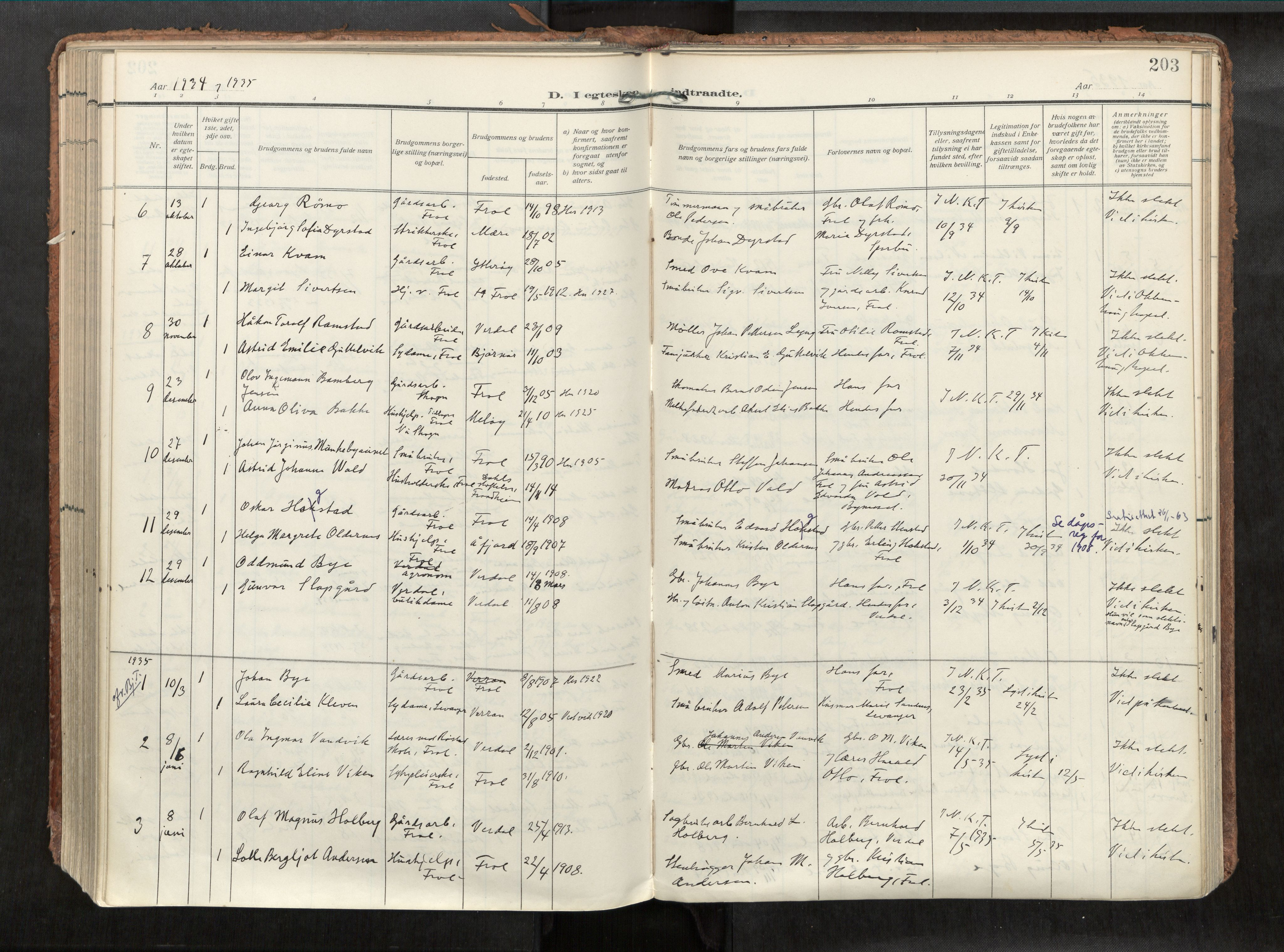 SAT, Levanger sokneprestkontor*, Parish register (official) no. 1, 1912-1935, p. 203