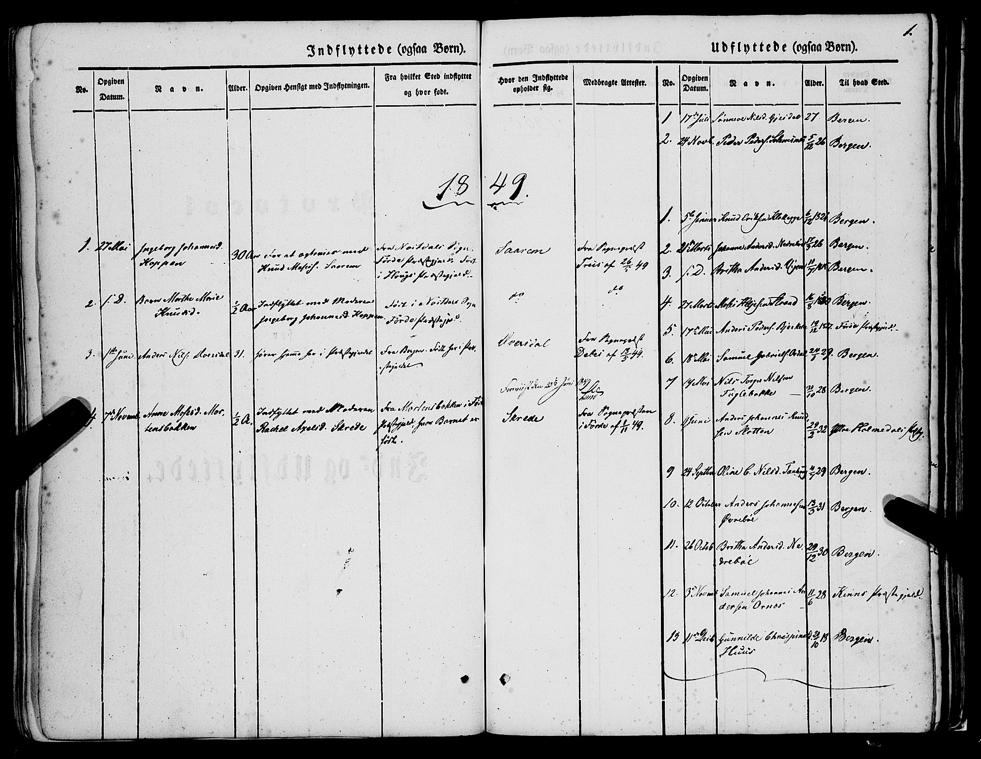 SAB, Jølster sokneprestembete, H/Haa/Haaa/L0010: Parish register (official) no. A 10, 1847-1865, p. 1