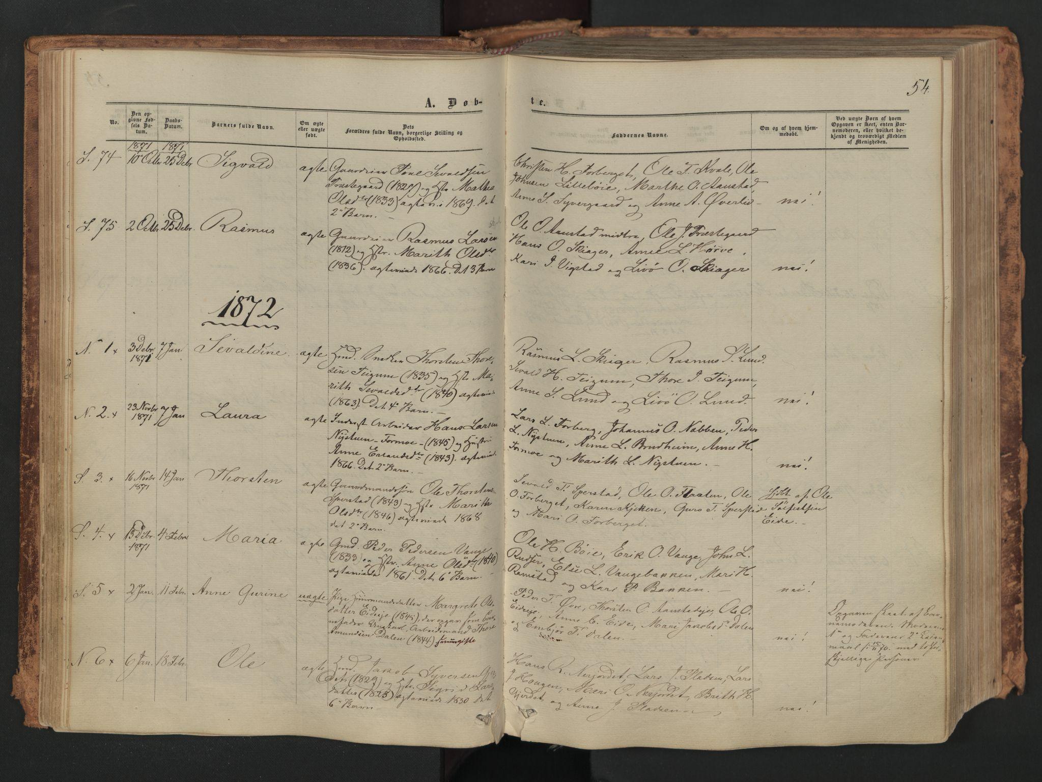 SAH, Skjåk prestekontor, Parish register (official) no. 1, 1863-1879, p. 54