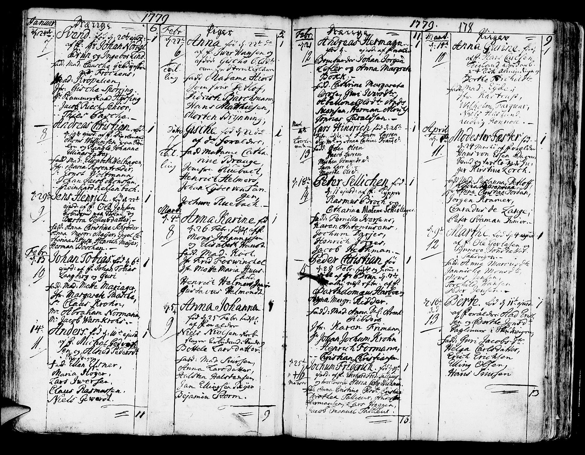 SAB, Korskirken Sokneprestembete, H/Haa/L0005: Parish register (official) no. A 5, 1751-1789, p. 178