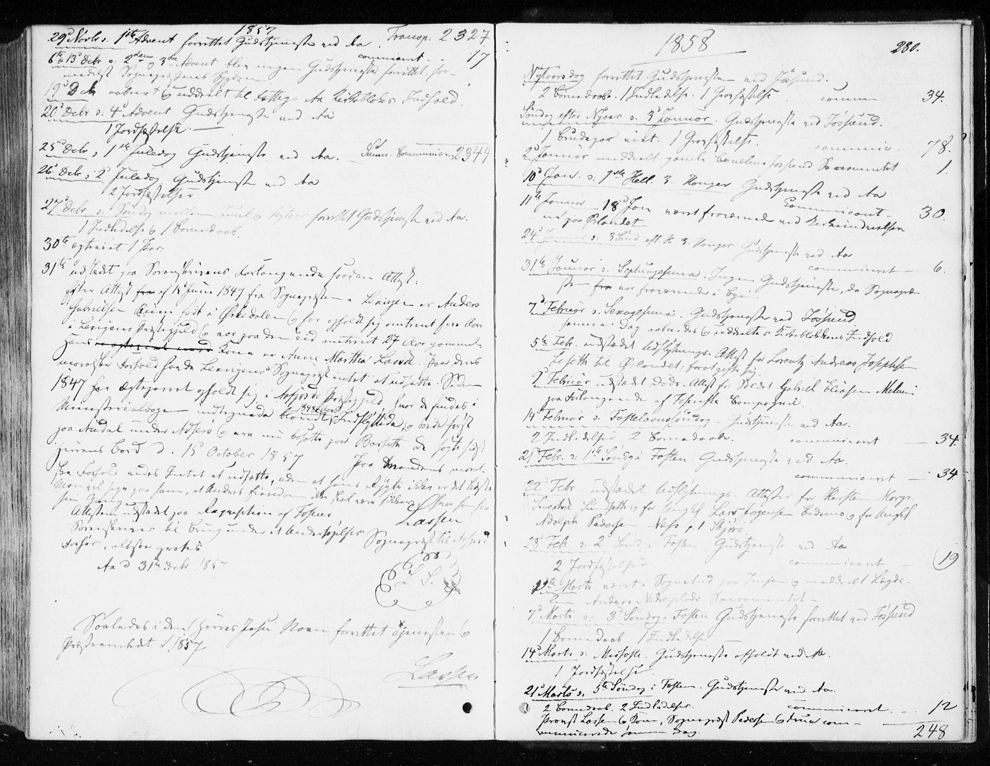 SAT, Ministerialprotokoller, klokkerbøker og fødselsregistre - Sør-Trøndelag, 655/L0677: Parish register (official) no. 655A06, 1847-1860, p. 280