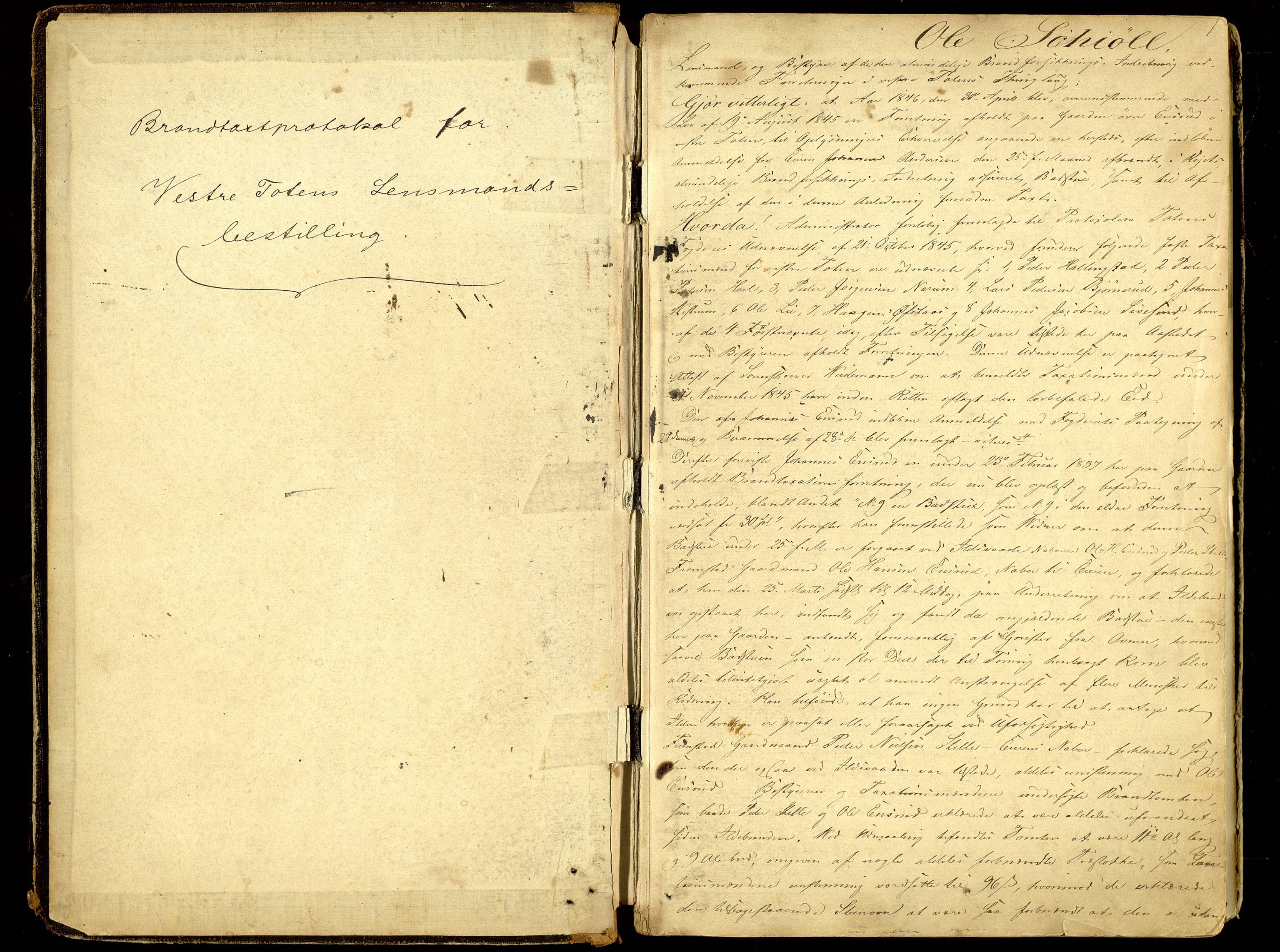 SAH, Norges Brannkasse, Vestre Toten, 1846-1919, p. 1a