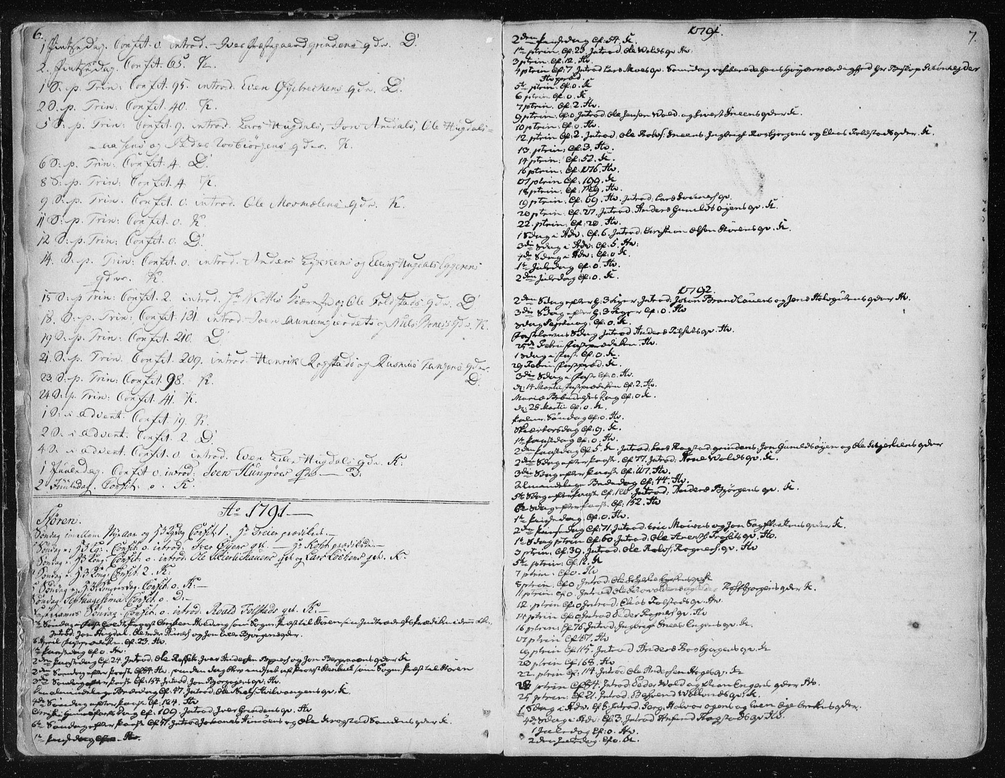SAT, Ministerialprotokoller, klokkerbøker og fødselsregistre - Sør-Trøndelag, 687/L0992: Parish register (official) no. 687A03 /1, 1788-1815, p. 6-7